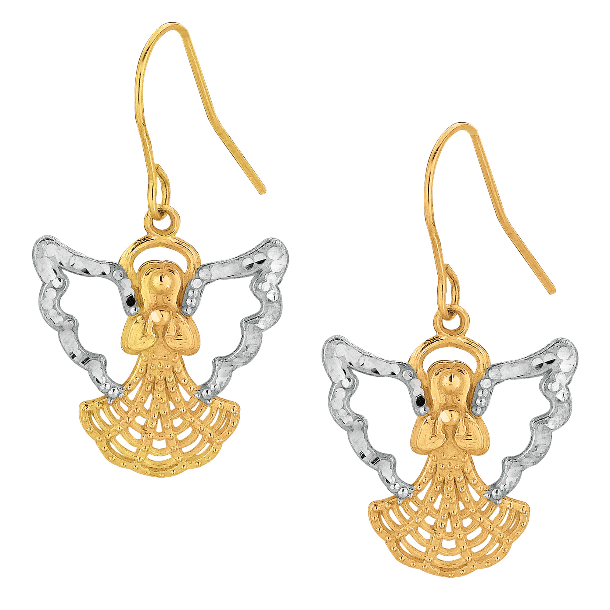 10k 2 Tone Yellow And White Gold Angel Drop Earrings Complete your jewelry collection with a gorgeous pair of 10Kt gold angel shaped dangle earrings. These 2 tone earrings have a  French wire clasp making them easy to wear and remove.