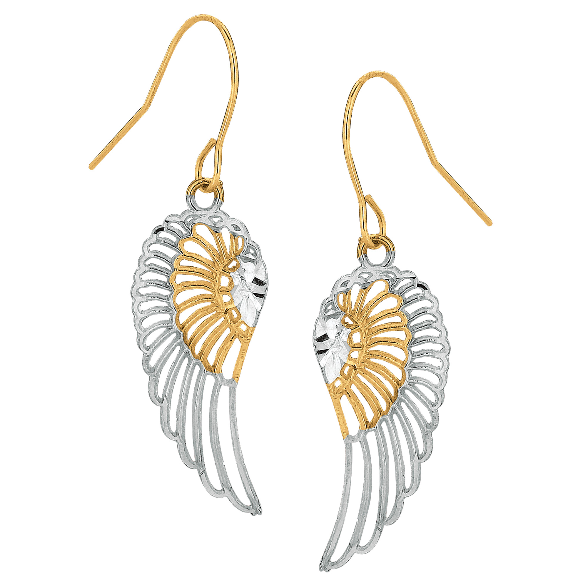 10k 2 Tone Yellow And White Gold Diamond Cut Angel Wings Drop Earrings Complete your jewelry collection with a gorgeous pair of 10Kt gold angel wings shaped dangle earrings. These 2 tone earrings have a  French wire clasp making them easy to wear and remove.