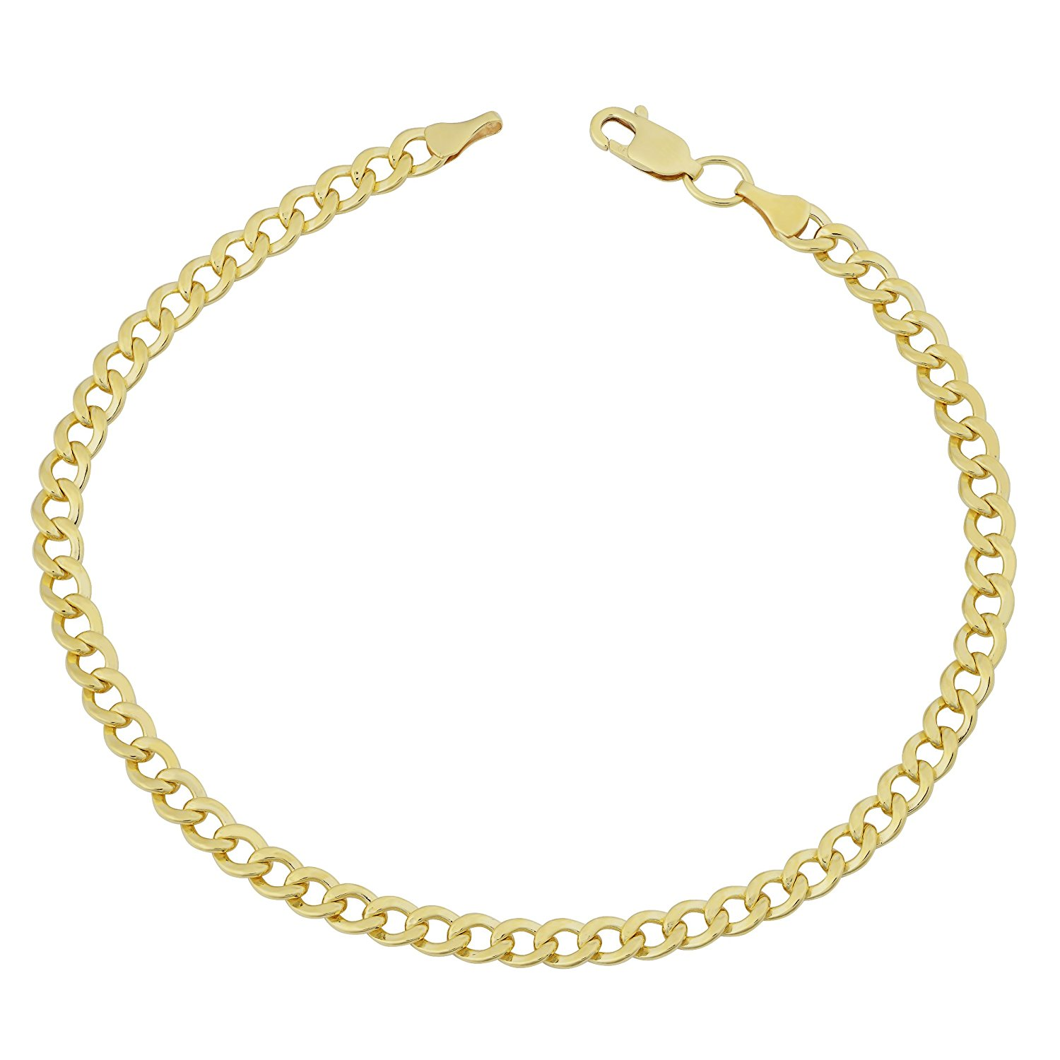 14K Yellow Gold Filled Solid Curb Chain Bracelet, 3.6mm, 8.5″