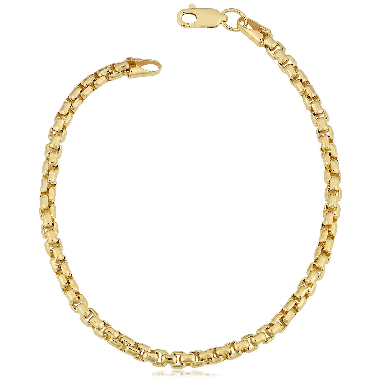 14K Yellow Gold Filled Round Box Chain Bracelet, 3.4mm, 8.5″