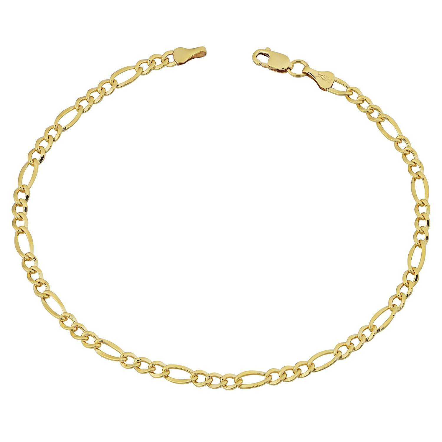 14K Yellow Gold Filled Solid Figaro Chain Bracelet, 3.2 mm, 8.5″