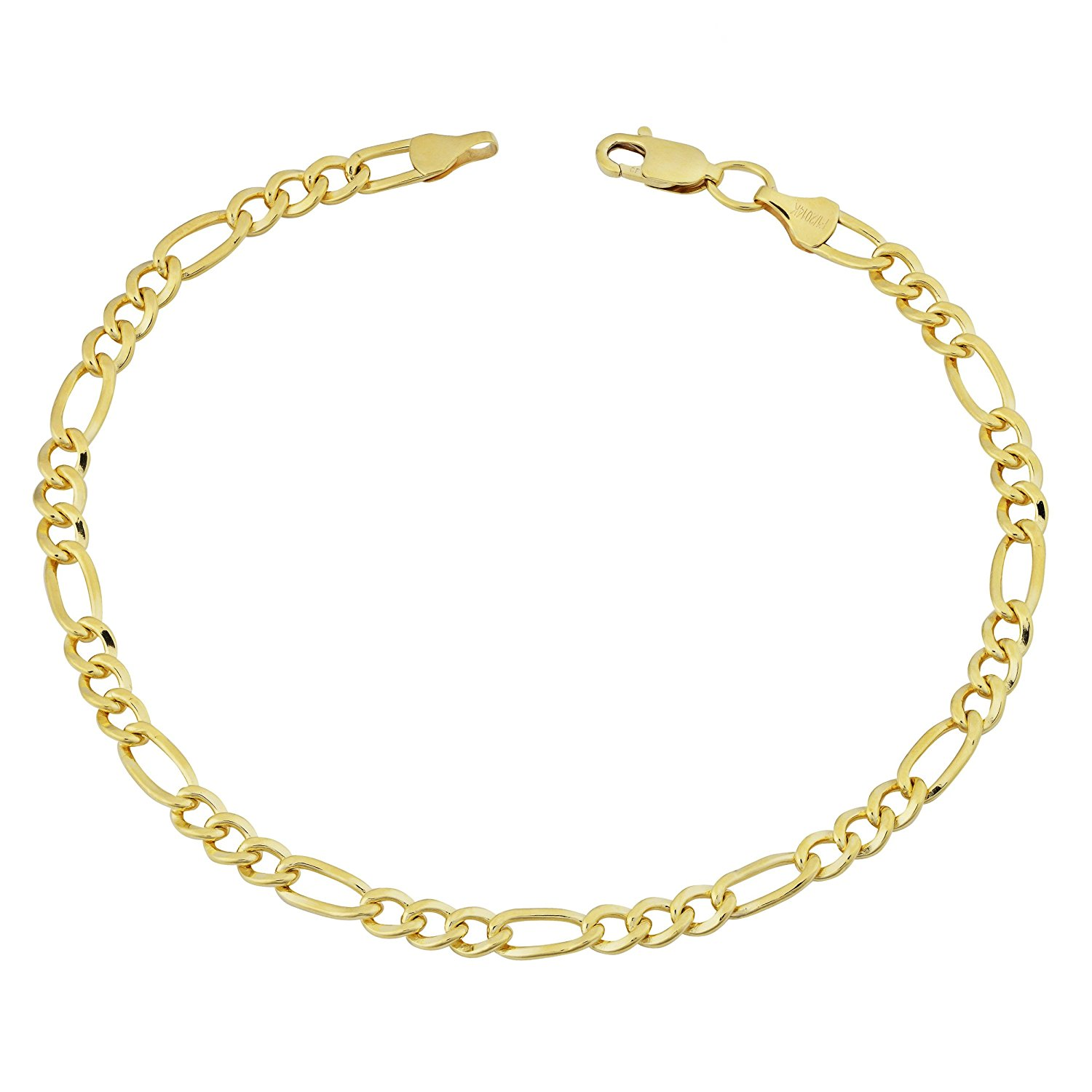 14K Yellow Gold Filled Solid Figaro Chain Bracelet, 4.0 mm, 8.5″