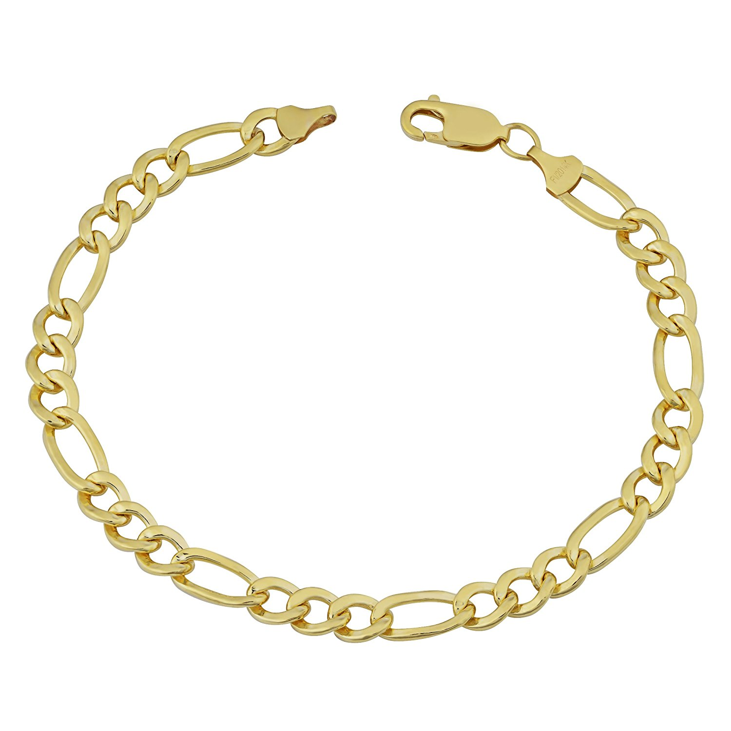 14K Yellow Gold Filled Solid Figaro Chain Bracelet, 6.0 mm, 8.5″