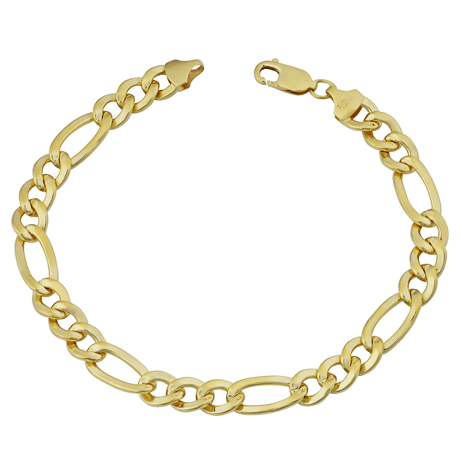14K Yellow Gold Filled Solid Figaro Chain Bracelet, 7.0 mm, 9″