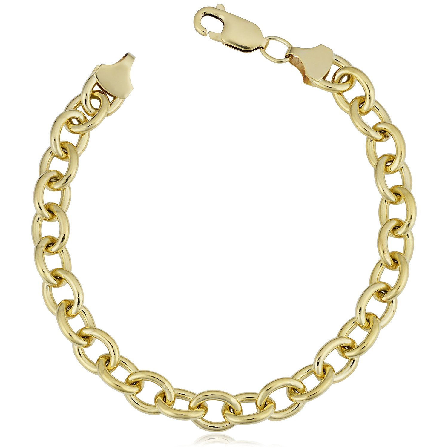 14K Yellow Gold Filled Rolo Chain Bracelet, 7.6mm, 8.5″
