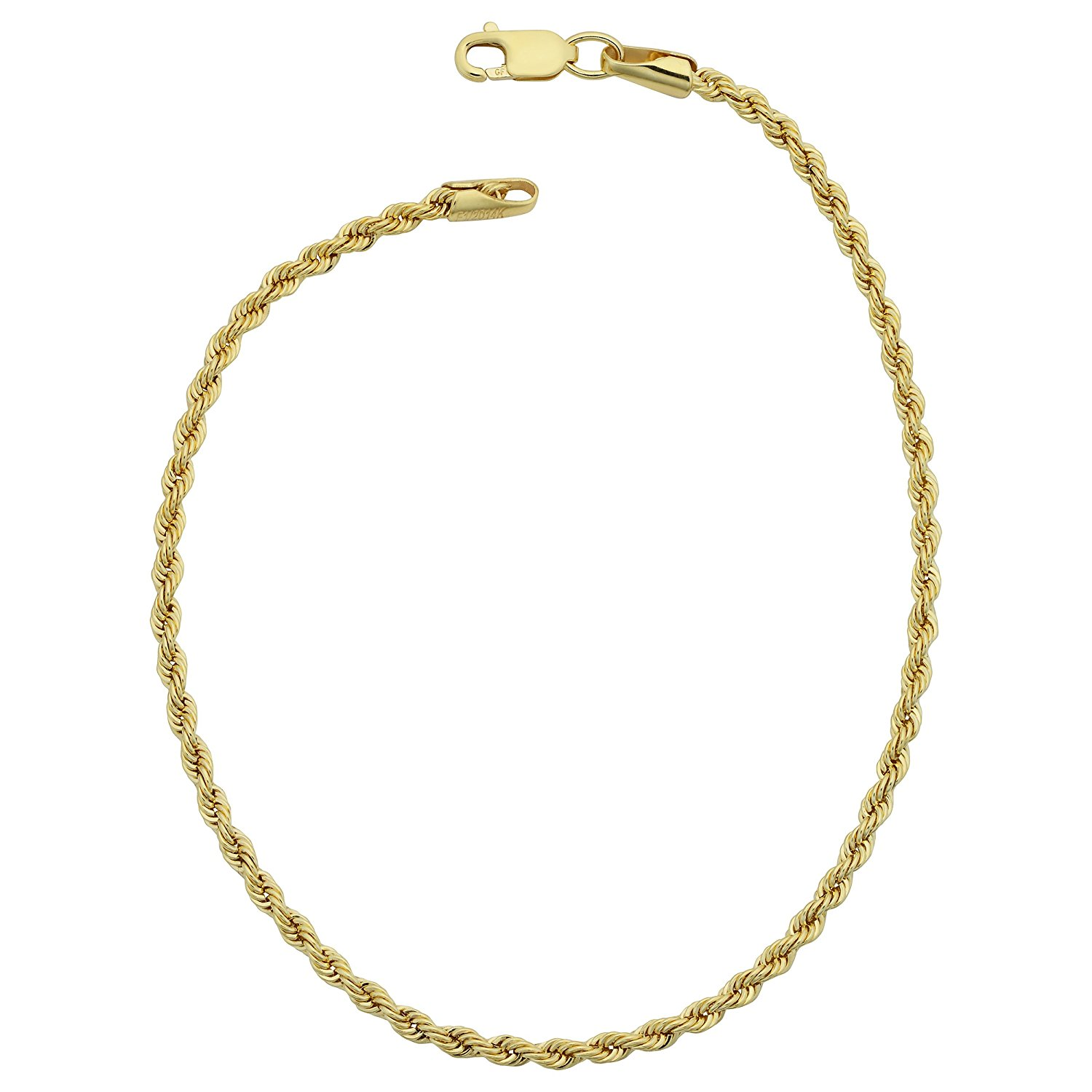 14K Yellow Gold Filled Solid Rope Chain Bracelet, 2.1mm, 8.5″