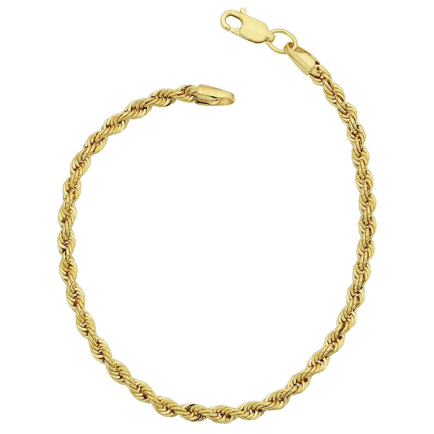 14K Yellow Gold Filled Solid Rope Chain Bracelet, 3.2mm, 8.5″