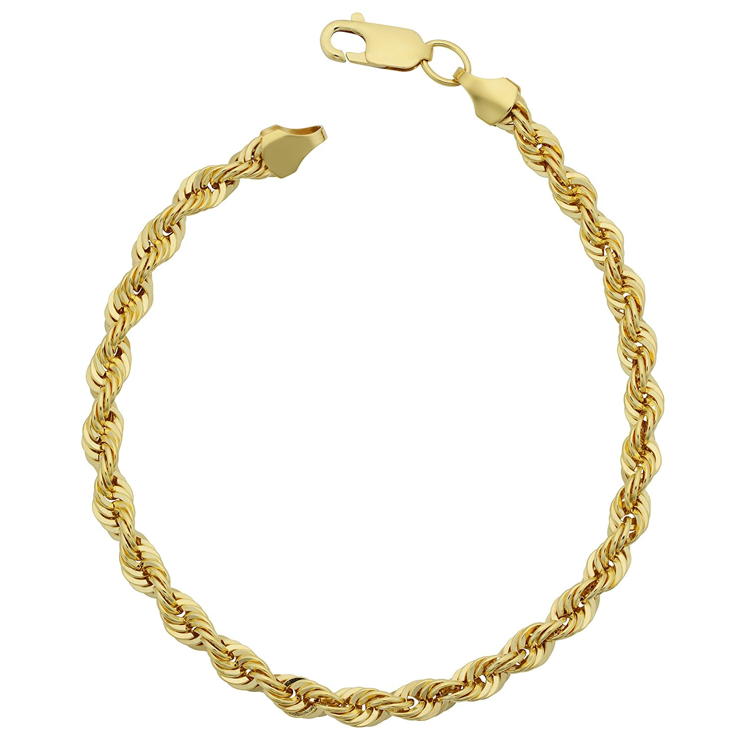 14K Yellow Gold filled Solid Rope Chain Bracelet, 4.5mm, 8.5″
