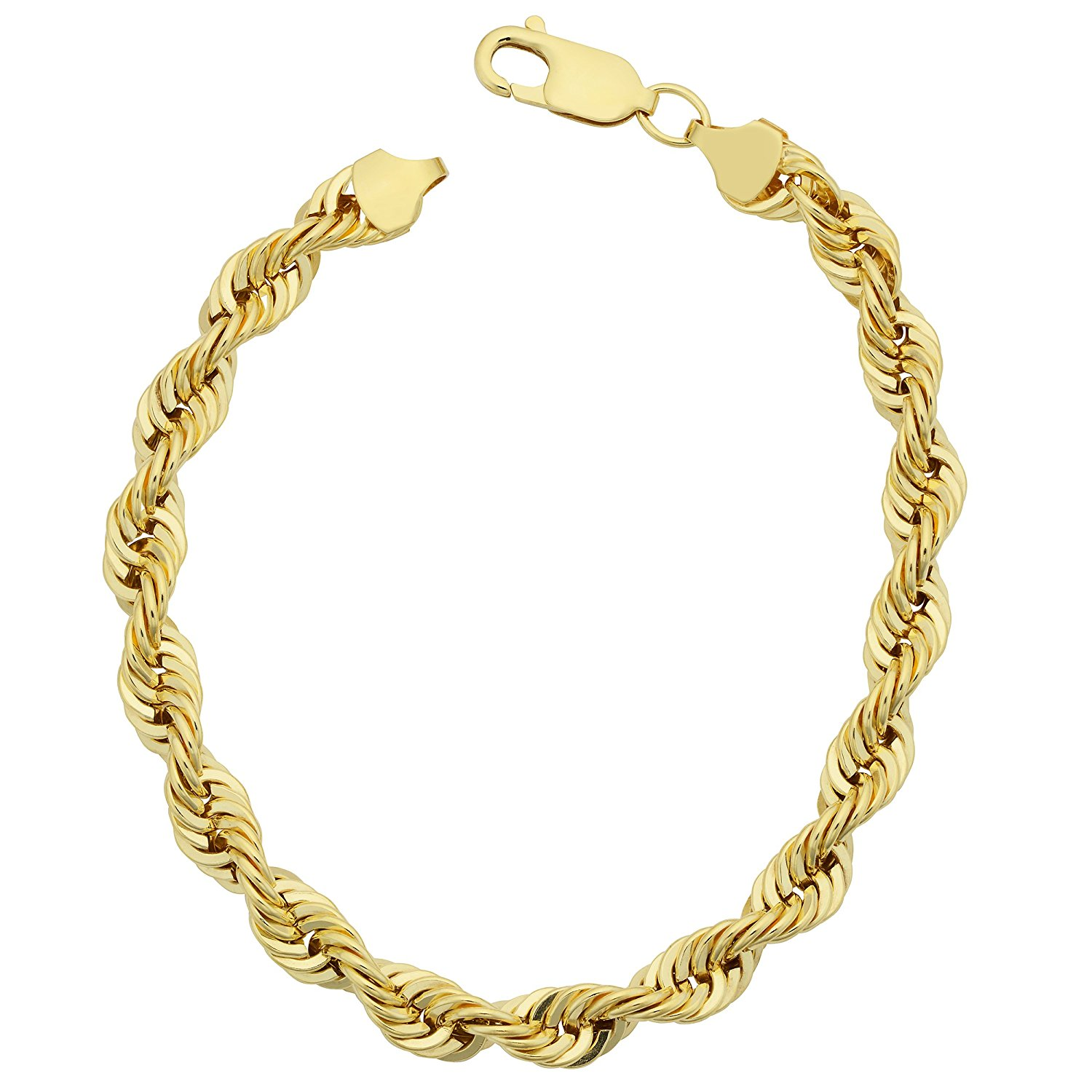 14K Yellow Gold Filled Solid Rope Chain Bracelet, 6.0mm, 8.5″