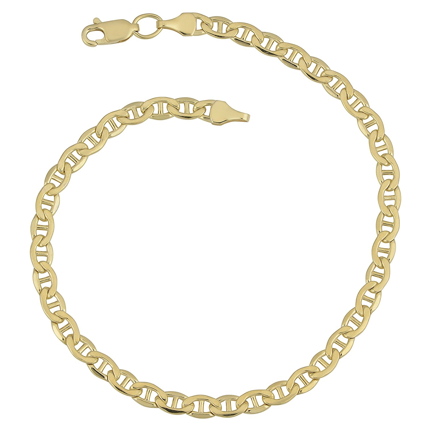 14K Yellow Gold Filled Solid Mariner Chain Bracelet, 4.5 mm, 8.5″