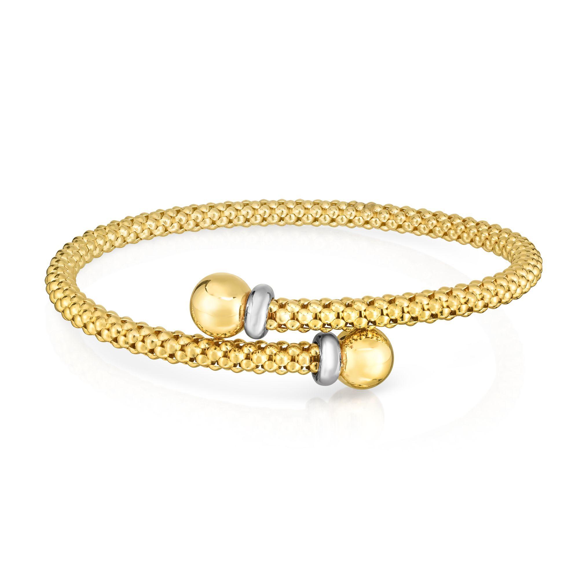 14k Yellow Gold Round Bypass Popcorn Adjustable Bangle Bracelet