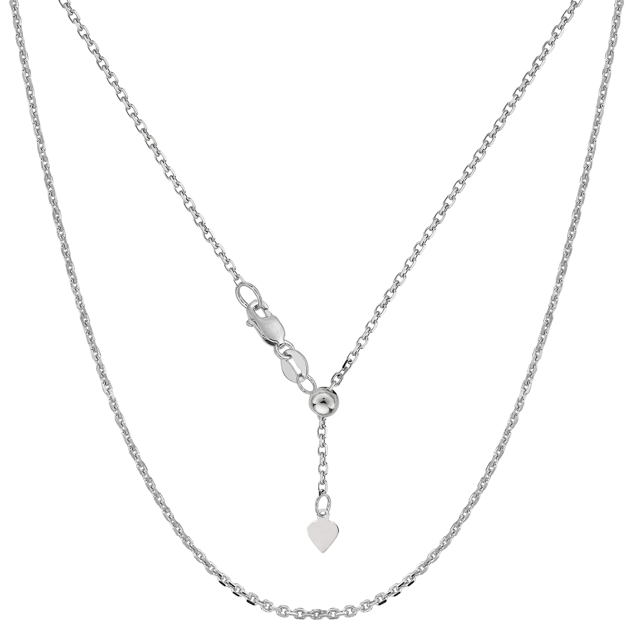 Sterling Silver Rhodium Plated 22  Sliding Adjustable Cable Chain Necklace, 1.5mm Using it by itself or combining it with charms and pendants, this 22 inch long adjustable cable style chain is a perfect addition to any jewelry fashionista collection.