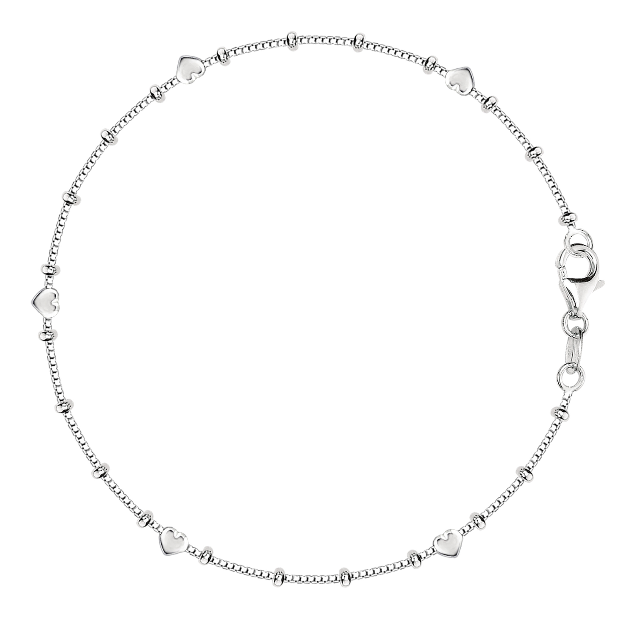 Box Chain With Heart Beads Anklet In Sterling Silver, 11″