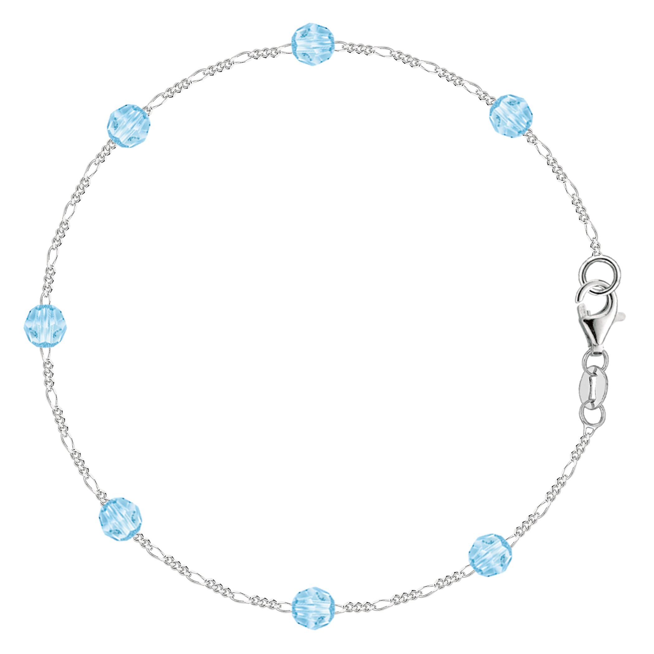 Baby Blue Synthetic Resin Bead Chain Anklet In Sterling Silver, 10″