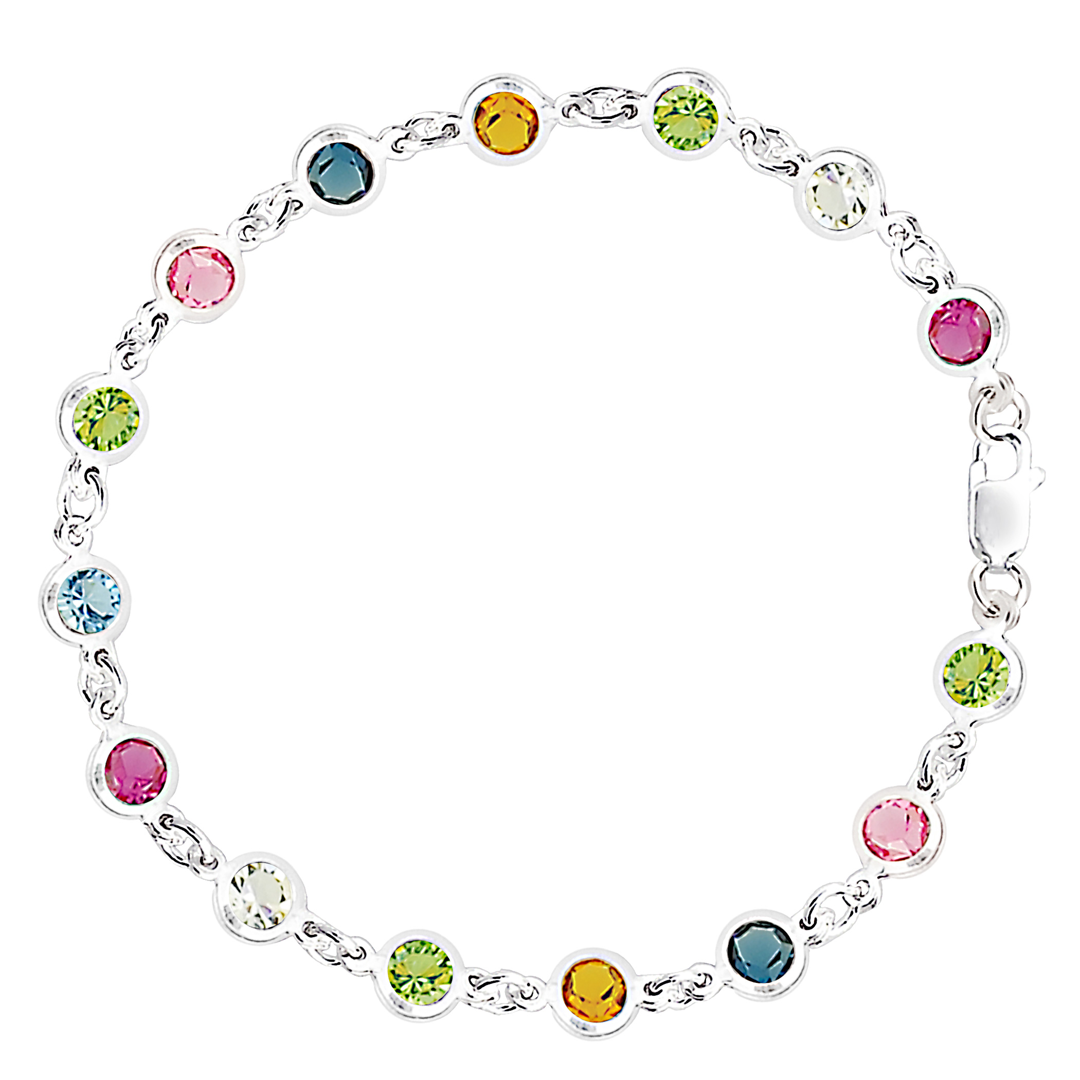 Multi Colored Round Shaped CZ Anklet In Sterling Silver, 10″