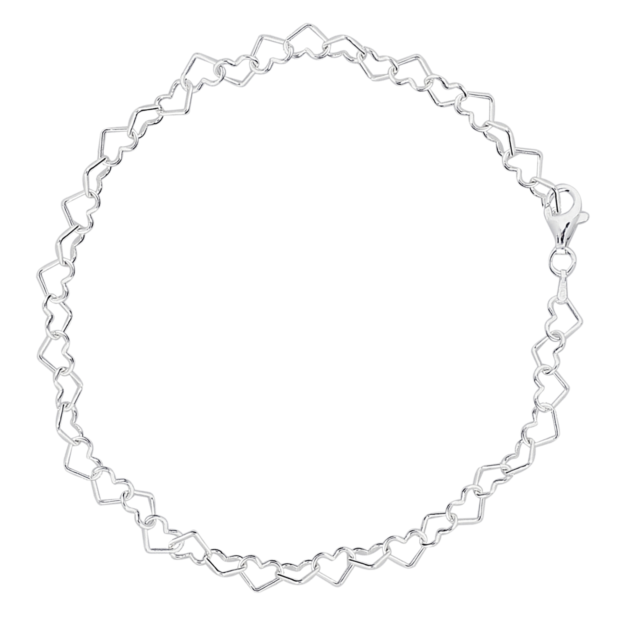 Hearts Link Chain Anklet In Sterling Silver, 10″