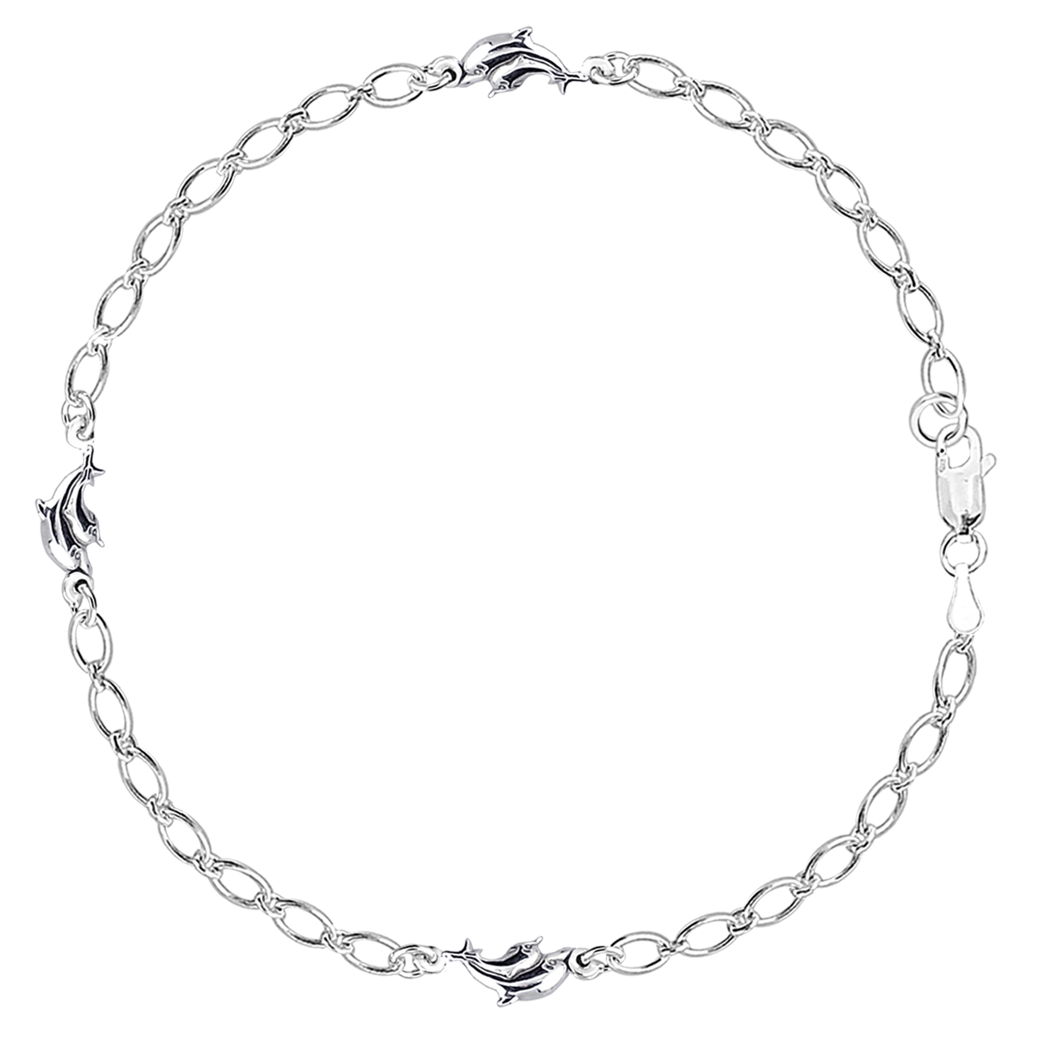 Mom And Baby Dolphin Chain Anklet In Sterling Silver, 10″
