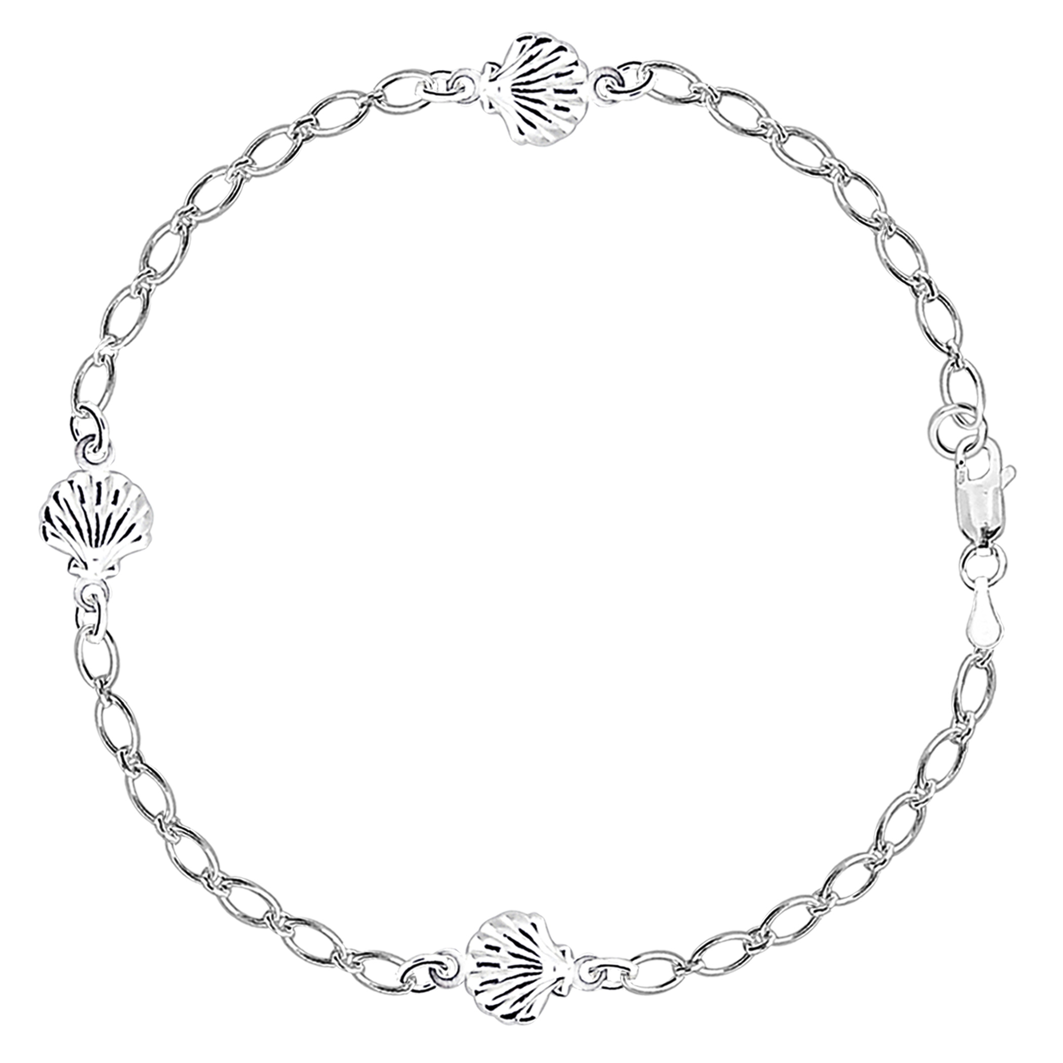 Sea Shell Fancy Chain Anklet In Sterling Silver, 10″