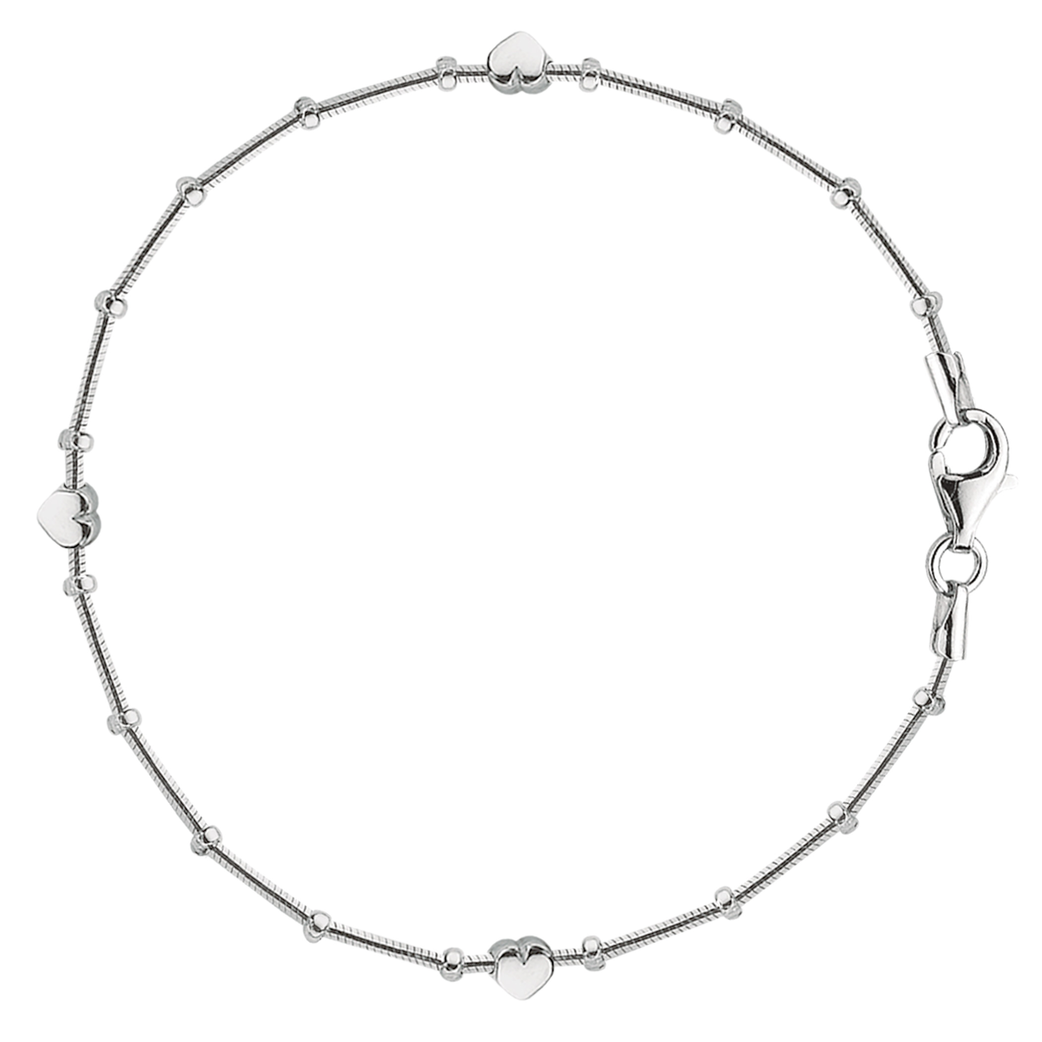 Snake Saturn Style Chain Anklet In Sterling Silver, 9″