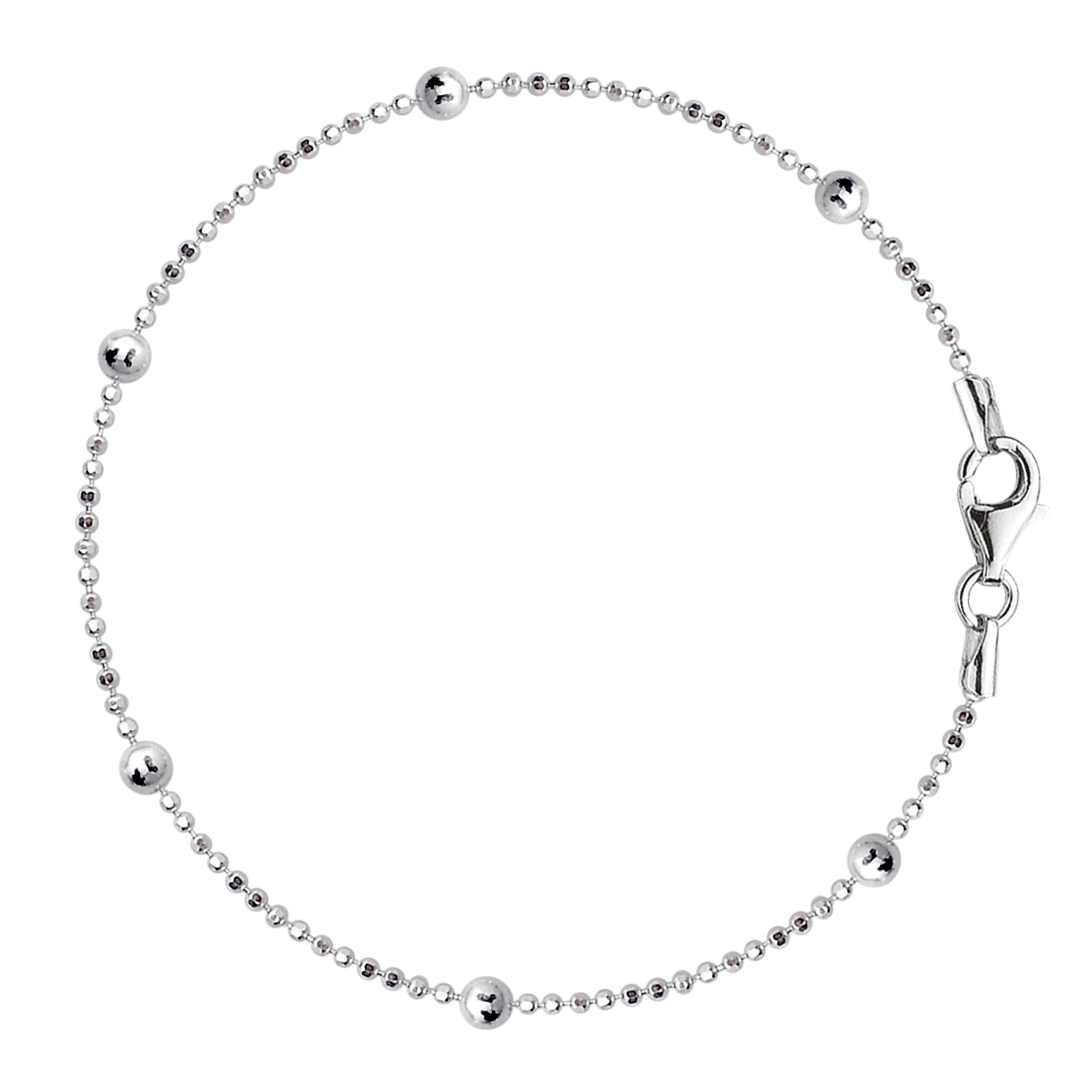 Bead Link Chain Anklet In Sterling Silver, 10″