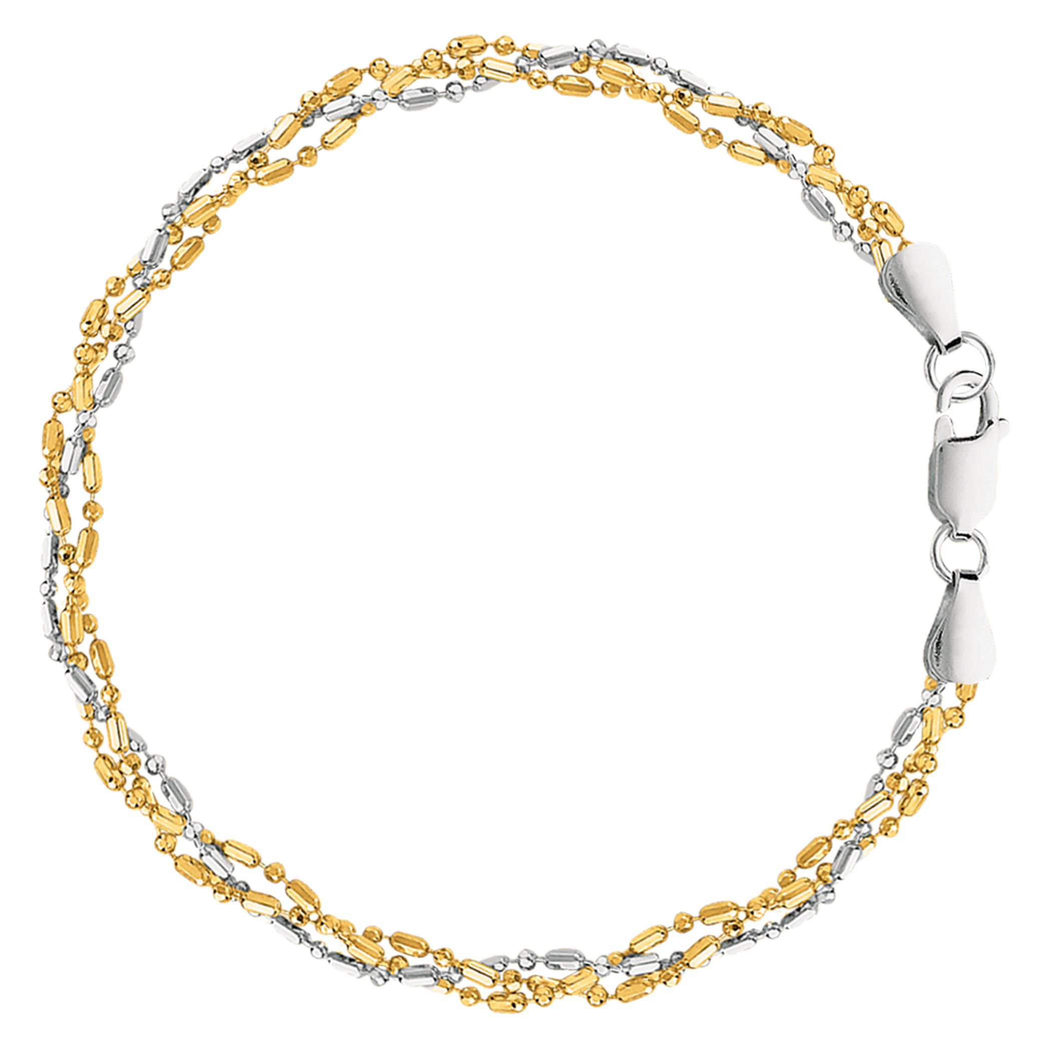 White And Yellow Triple Bead Chain Anklet In Sterling Silver, 10″