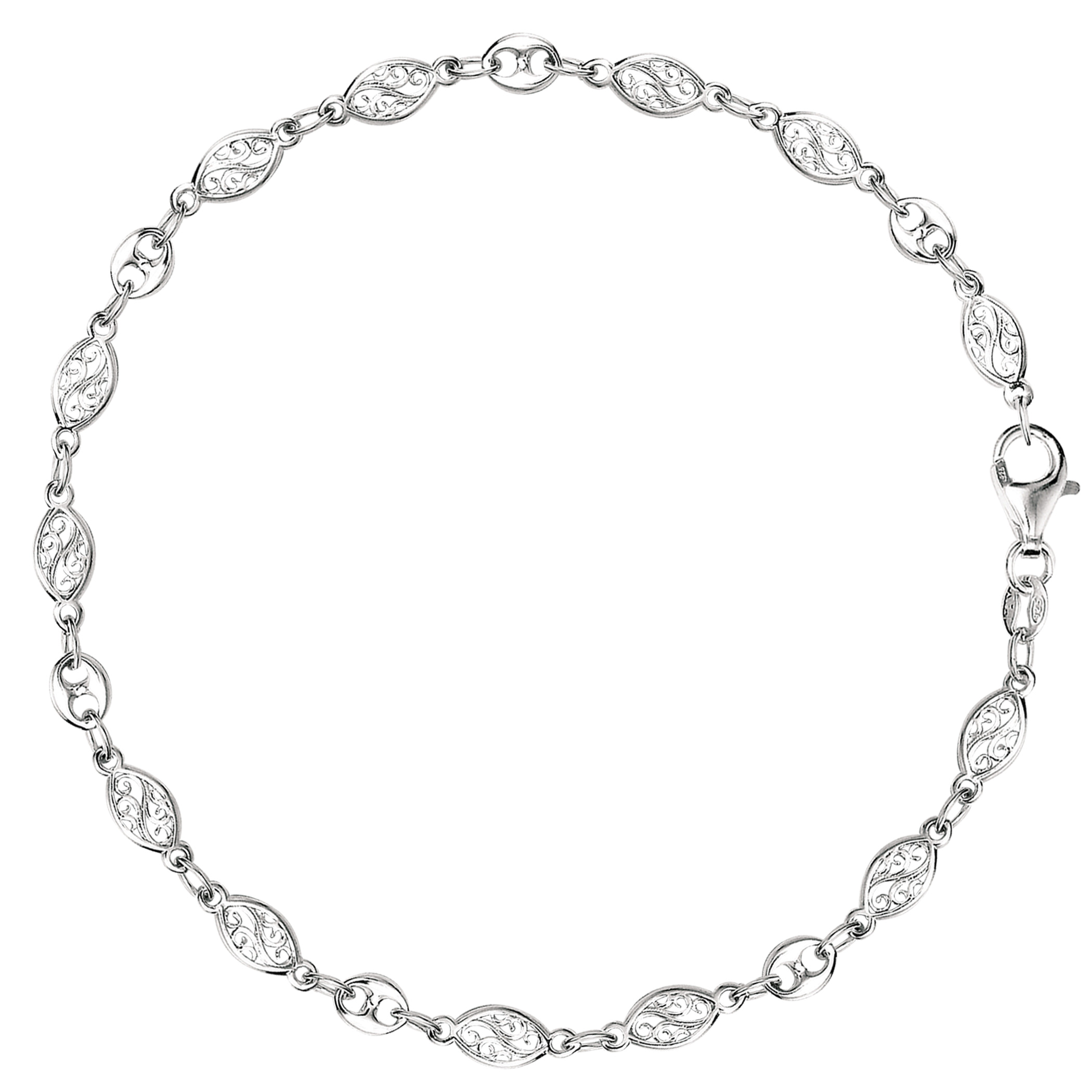 Mixed Filigree And Mariner Link Chain Anklet In Sterling Silver, 10″