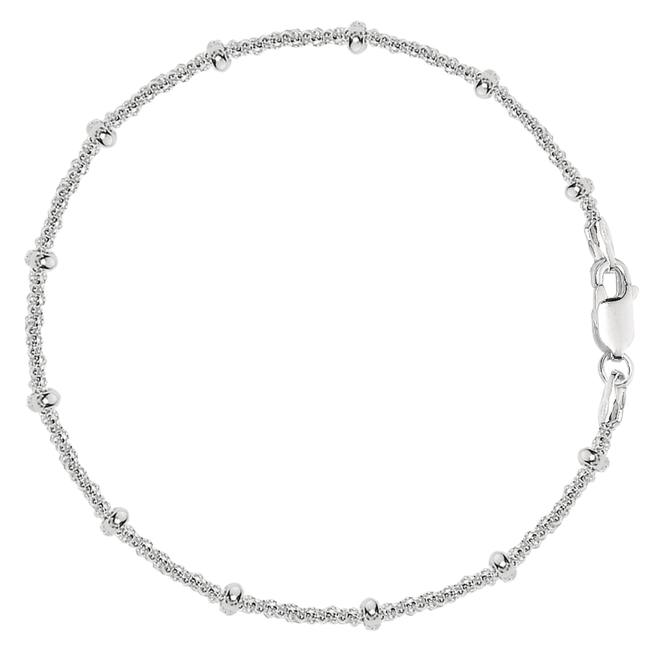 Saturn Style Chain Anklet In Sterling Silver, 10″