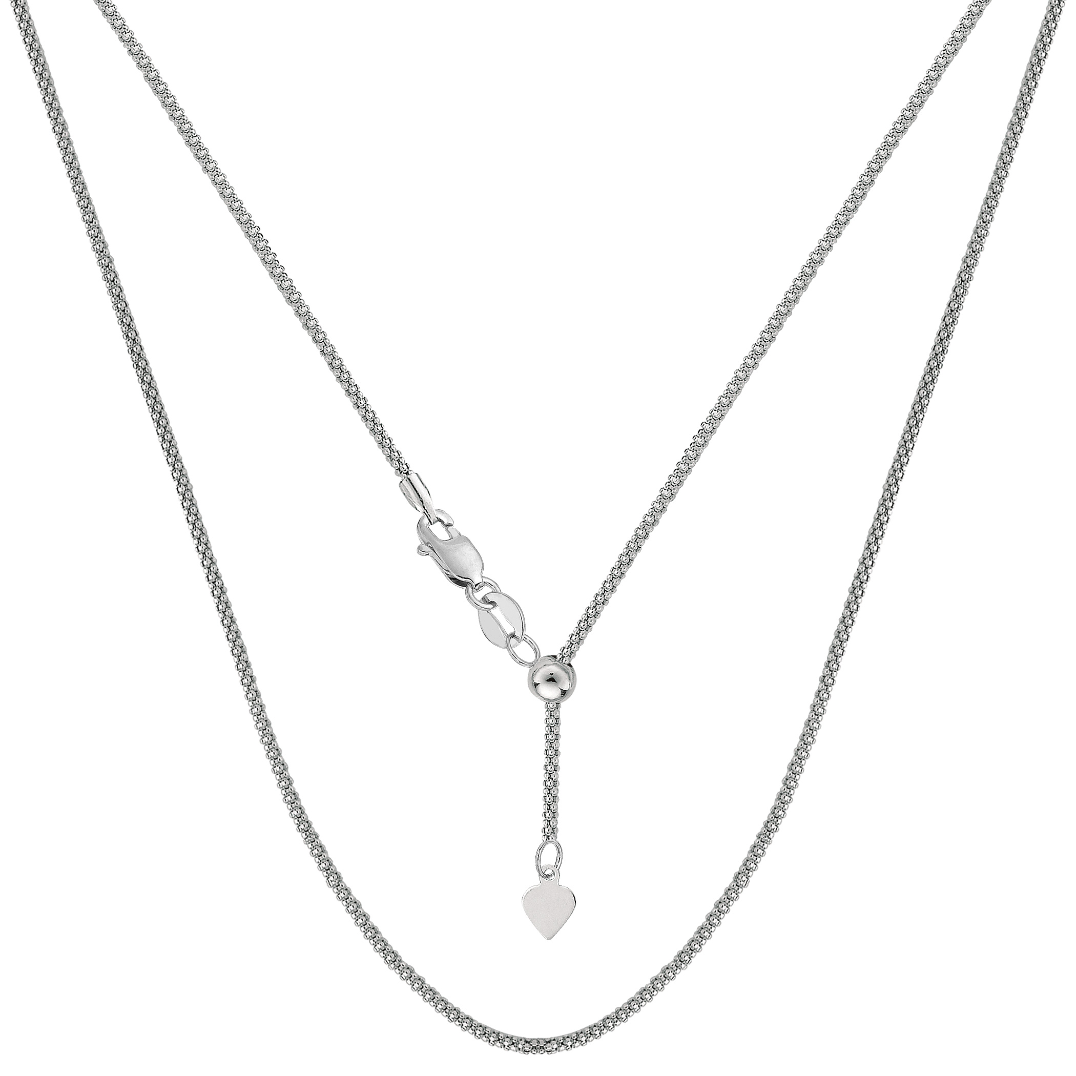 Sterling Silver Rhodium Plated 22  Sliding Adjustable Popcorn Chain Necklace, 1.5mm Using it by itself or combining it with charms and pendants, this 22 inch long adjustable popcorn style chain is a perfect addition to any jewelry fashionista collection.