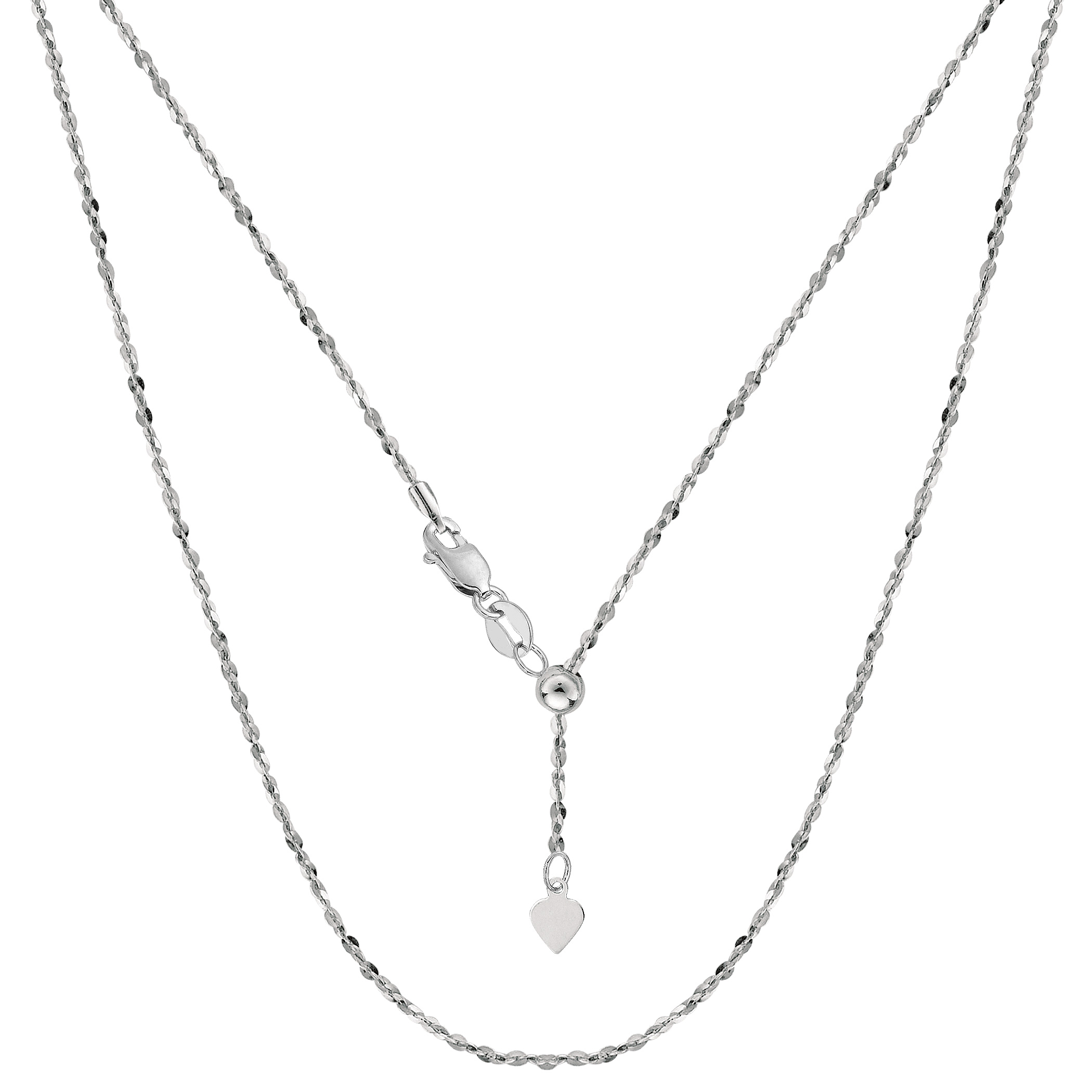 Sterling Silver Rhodium Plated 22  Sliding Adjustable Link Chain, Width 1 mm Using it by itself or combining it with charms and pendants, this 22 inch long adjustable piatto link style chain is a perfect addition to any jewelry fashionista collection.