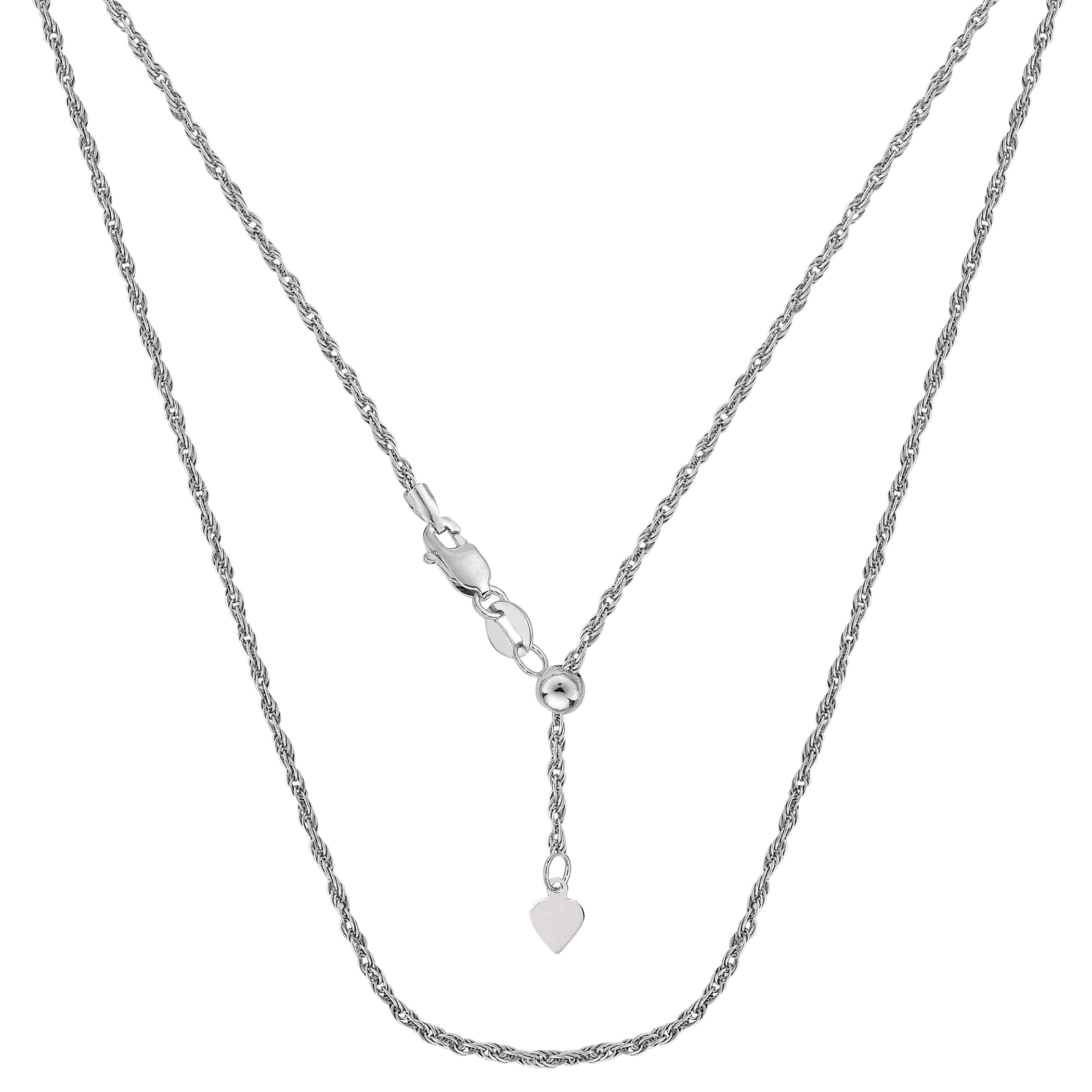 Sterling Silver Rhodium Plated Sliding Adjustable Rope Chain Necklace, 22  Using it by itself or combining it with charms and pendants, this 22 inch long adjustable rope style chain is a perfect addition to any jewelry fashionista collection.