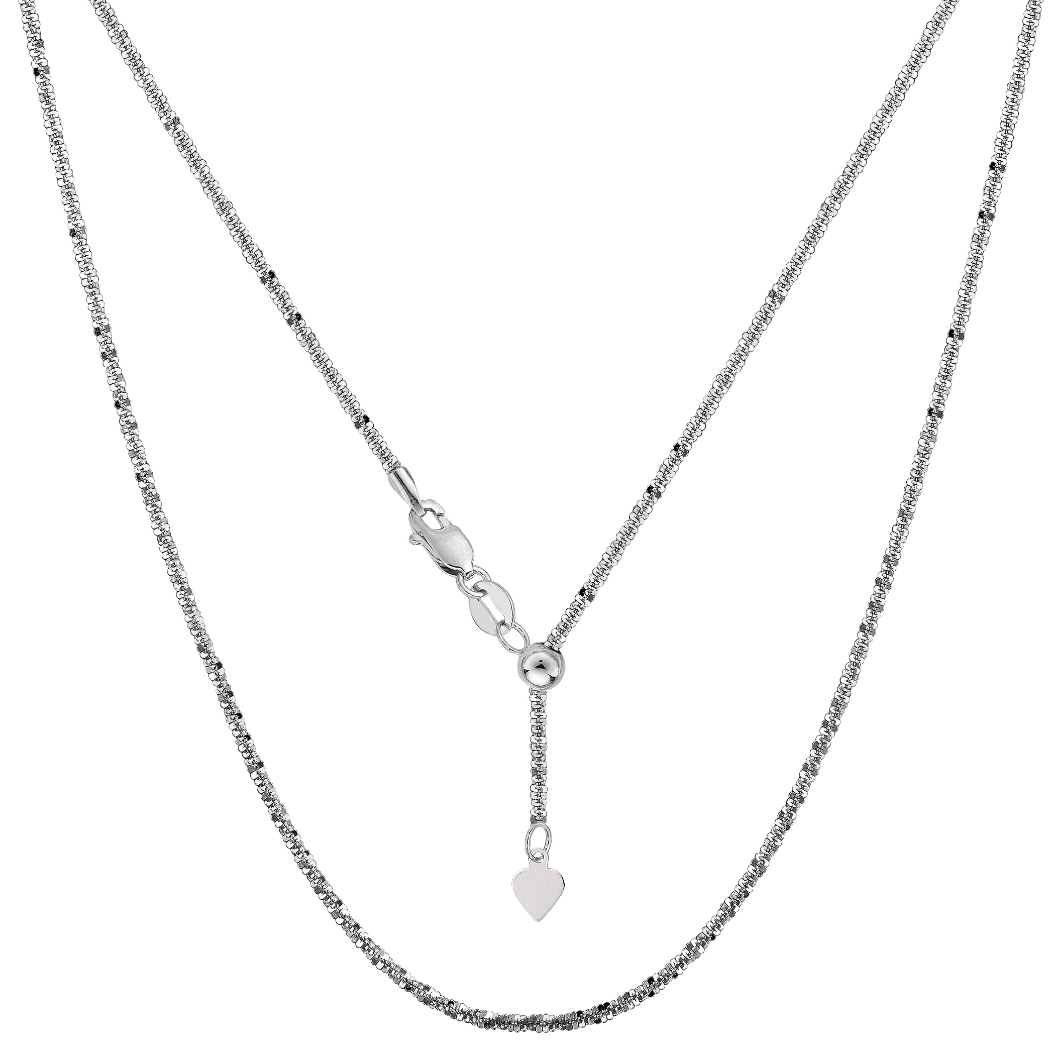 Sterling Silver Rhodium Plated 22  Sliding Adjustable Sparkle Chain Necklace, 1.5mm Using it by itself or combining it with charms and pendants, this 22 inch long adjustable sparkle style chain is a perfect addition to any jewelry fashionista collection.