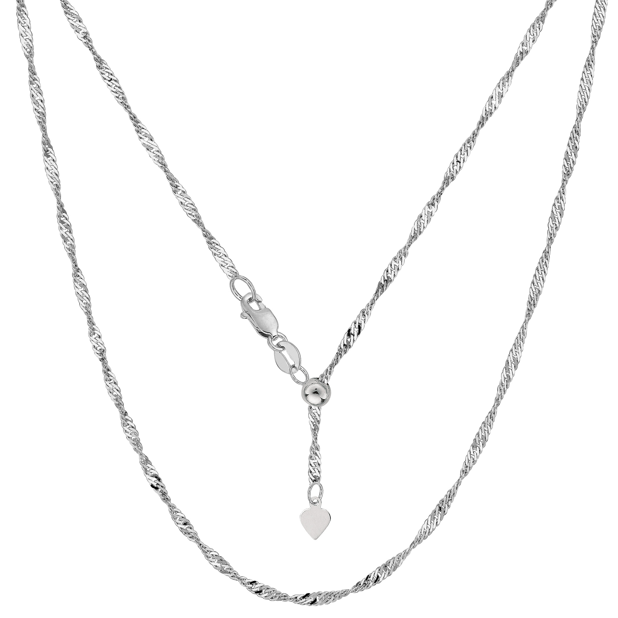 Sterling Silver Rhodium Plated 22  Sliding Adjustable Singapore Chain Necklace, 1.5mm Using it by itself or combining it with charms and pendants, this 22 inch long adjustable singapore style chain is a perfect addition to any jewelry fashionista collection.