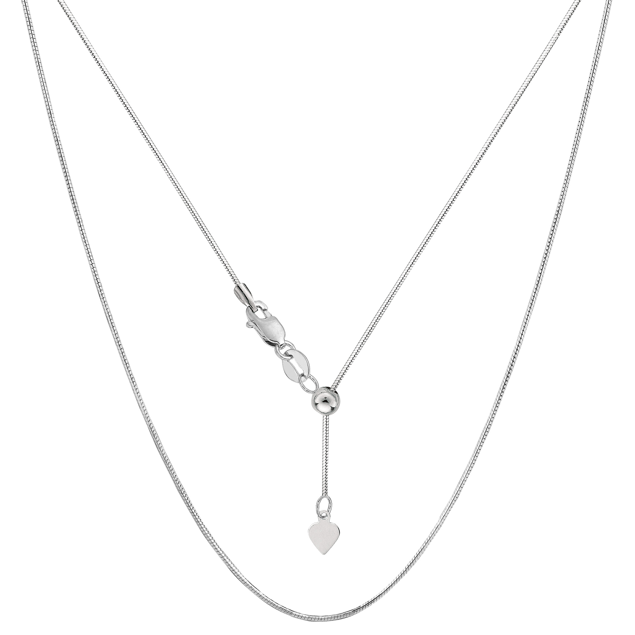 Sterling Silver Rhodium Plated Sliding Adjustable Snake Chain, 22  Using it by itself or combining it with charms and pendants, this 22 inch long adjustable snake style chain is a perfect addition to any jewelry fashionista collection.