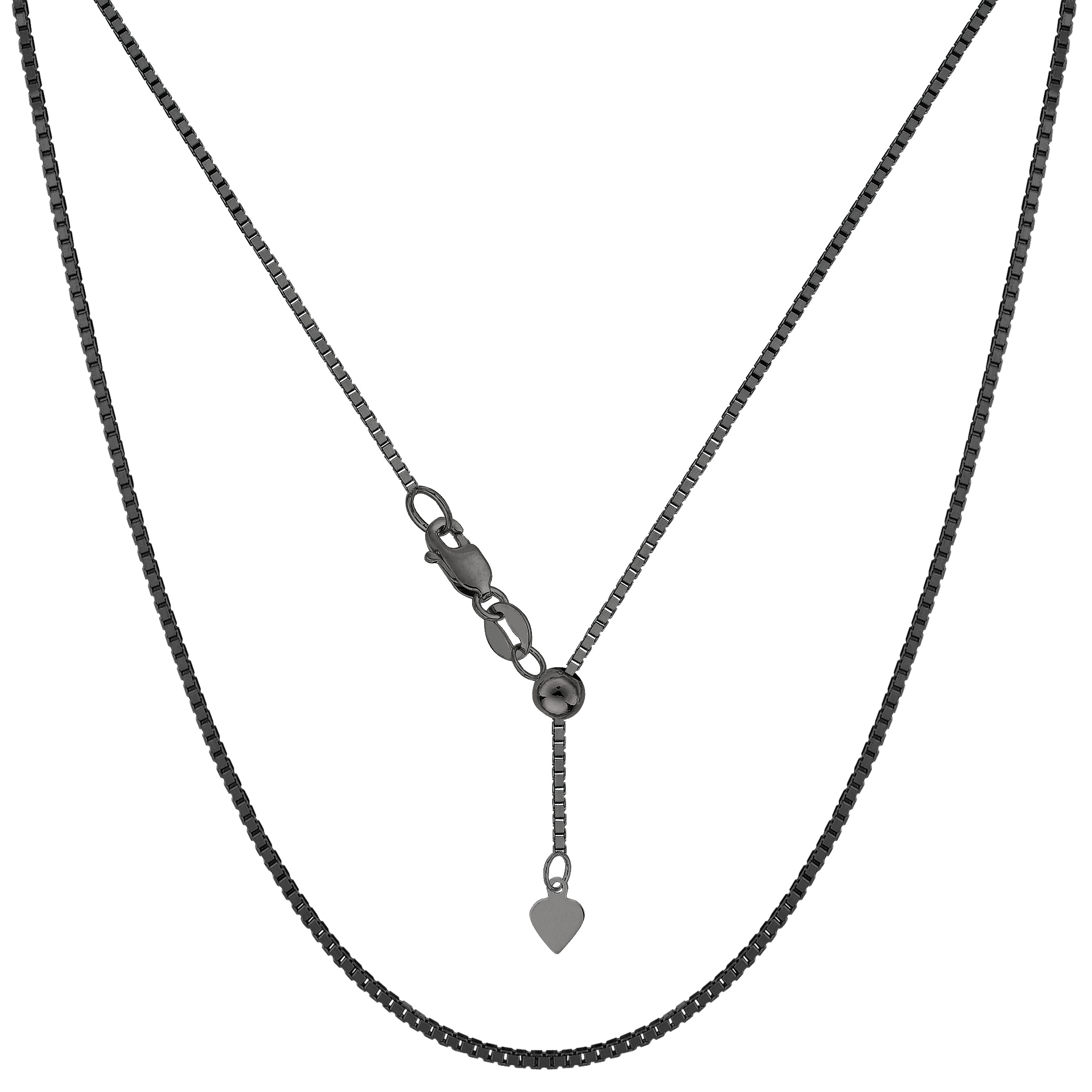 Sterling Silver Black Ruthenium Plated 22  Sliding Adjustable Box Chain Necklace, 1.4mm Using it by itself or combining it with charms and pendants, this 22 inch long adjustable box style chain is a perfect addition to any jewelry fashionista collection. This Sterling Silver chain is black Ruthenium plated to a get that dark antique look.