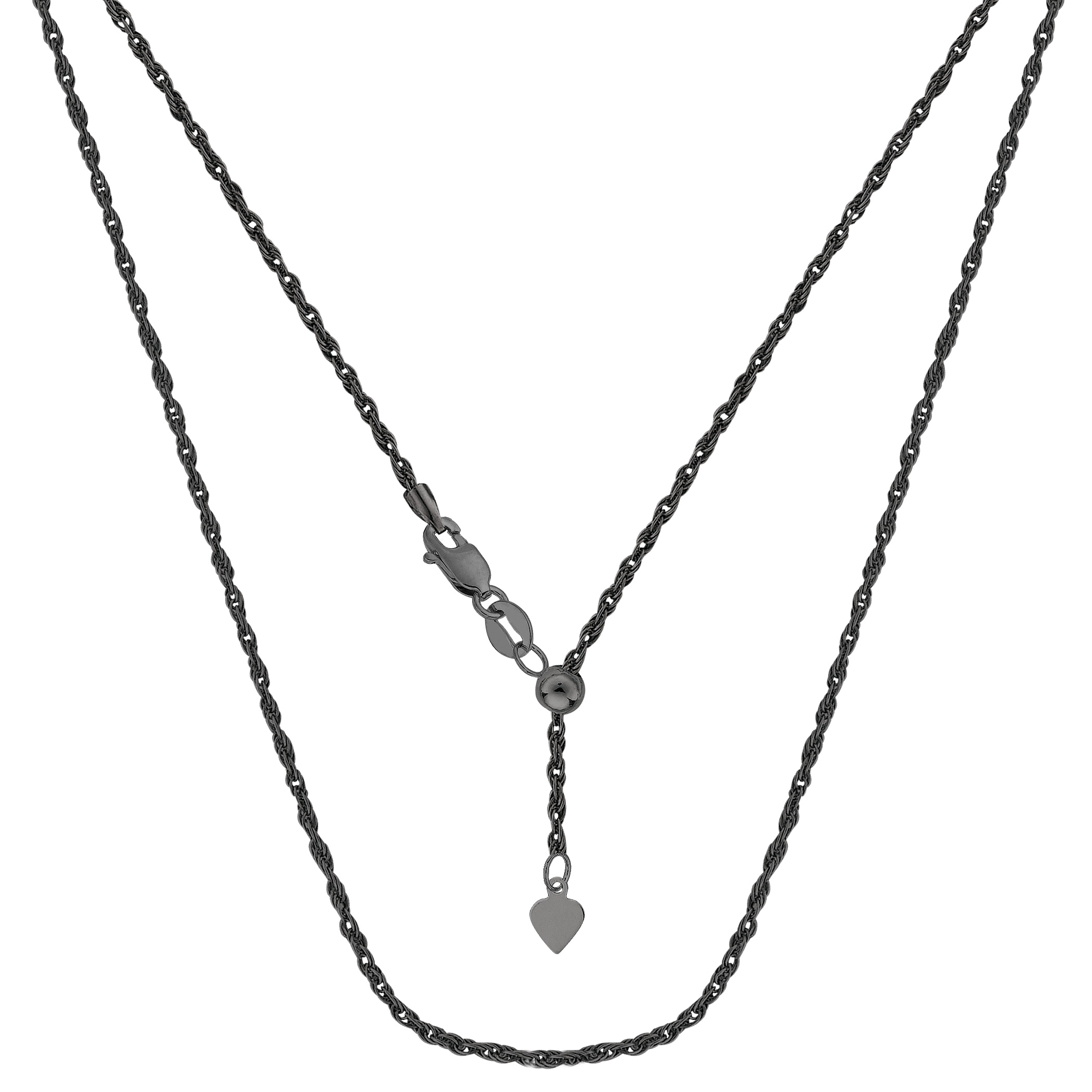 Sterling Silver Black Ruthenium Plated 22  Sliding Adjustable Rope Chain Necklace, 1.5mm Using it by itself or combining it with charms and pendants, this 22 inch long adjustable rope style chain is a perfect addition to any jewelry fashionista collection. This Sterling Silver chain is black Ruthenium plated to a get that dark antique look.