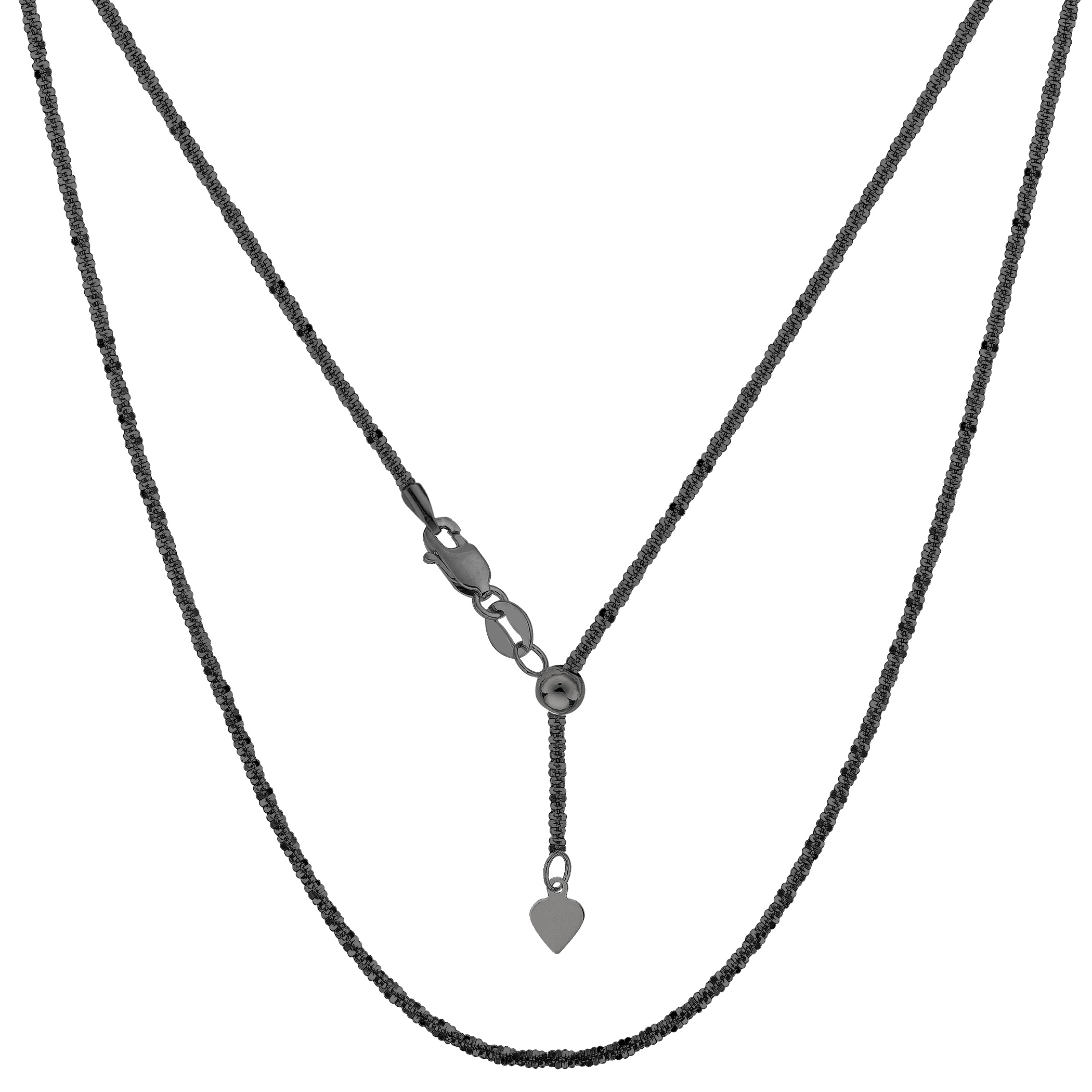Sterling Silver Black Ruthenium Plated 22  Sliding Adjustable Sparkle Chain Necklace, 1.5mm Using it by itself or combining it with charms and pendants, this 22 inch long adjustable sparkle style chain is a perfect addition to any jewelry fashionista collection. This Sterling Silver chain is black Ruthenium plated to a get that dark antique look.