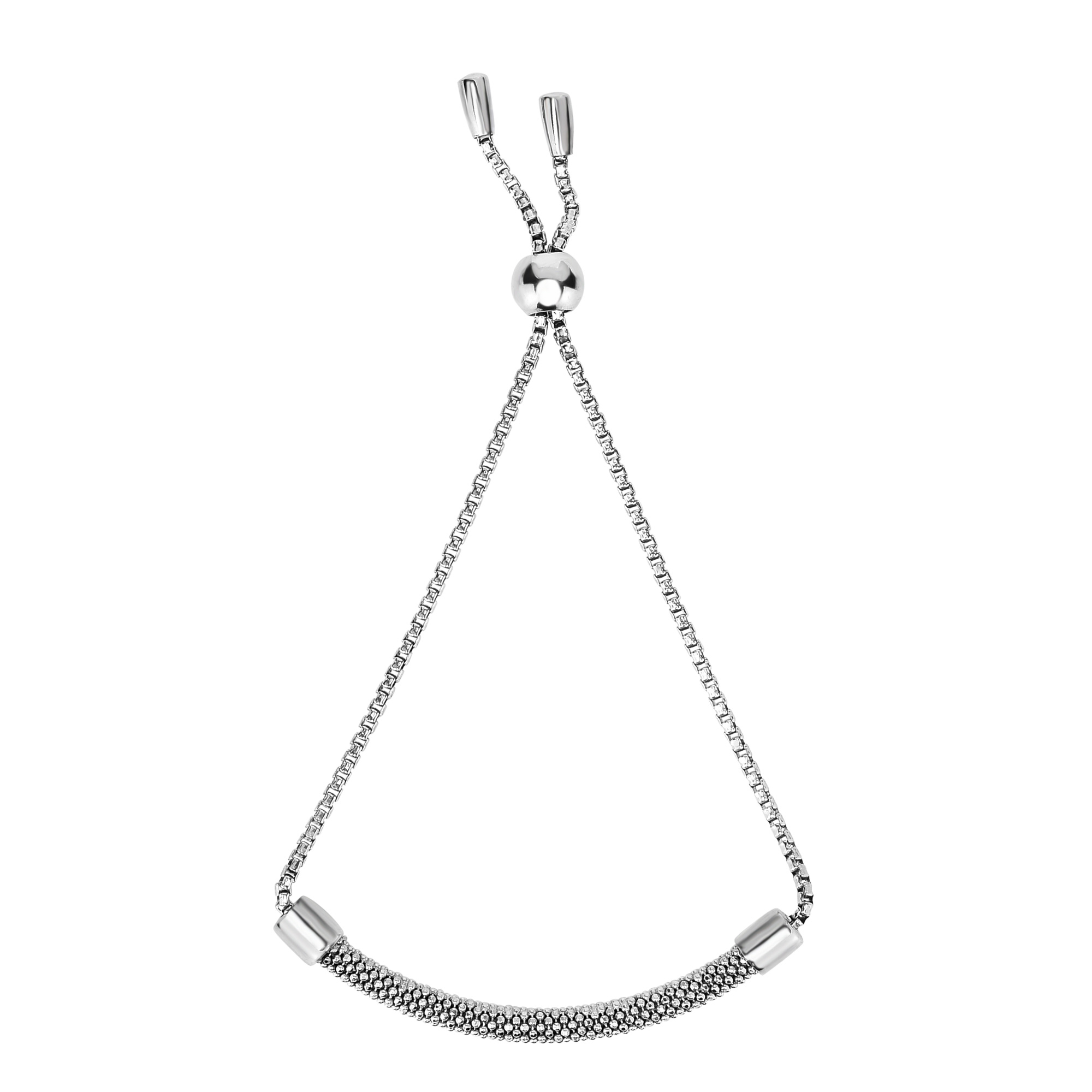 Sterling Silver Diamond Cut Beaded Bar Adjustable Bolo Friendship Bracelet , 9.25  Designed for today's fast-moving, contemporary woman, the Friendship bracelets are smart, stylish and easy to wear. Meticulously executed in high quality Rhodium plated sterling silver, these iconic bracelets are easily adjusted to fit any wrist. The Adjustable sliding closure allows you to go from 9.25 inches length to as small as allowed by the design.  Each unique style of our Friendship collection looks beautiful worn as one piece alone or stacked with multiple styles for a layered and modern look. The bracelet comes in an elegant jewelry gift box, perfect for any gift giving occasion.