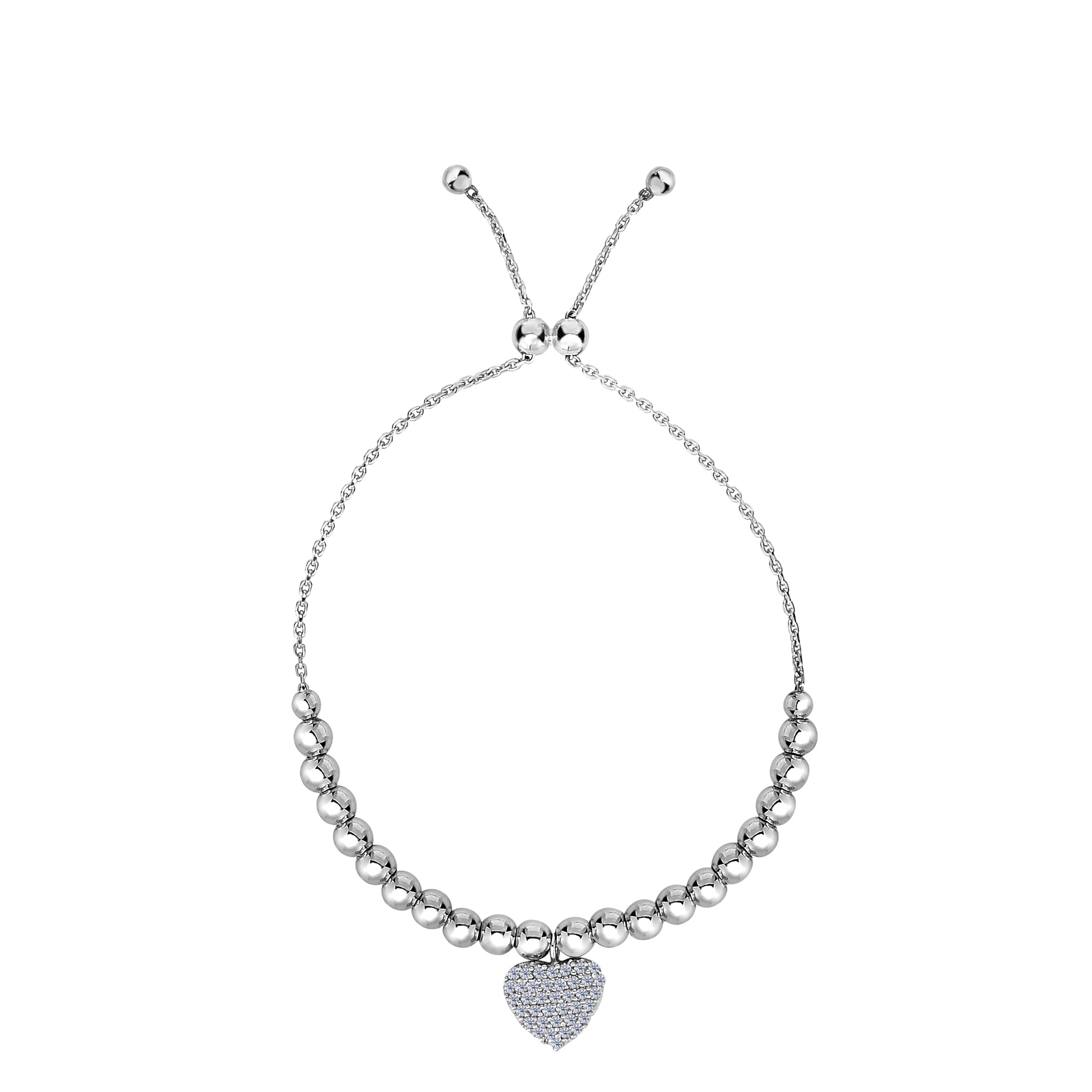 Sterling Silver Beads And CZ Heart Charm Element Adjustable Bolo Friendship Bracelet , 9.25  Designed for today's fast-moving, contemporary woman, the Friendship bracelets are smart, stylish and easy to wear. Meticulously executed in high quality Rhodium plated sterling silver, these iconic bracelets are easily adjusted to fit any wrist. The Adjustable sliding closure allows you to go from 9.25 inches length to as small as allowed by the design.  Each unique style of our Friendship collection looks beautiful worn as one piece alone or stacked with multiple styles for a layered and modern look. The bracelet comes in an elegant jewelry gift box, perfect for any gift giving occasion.