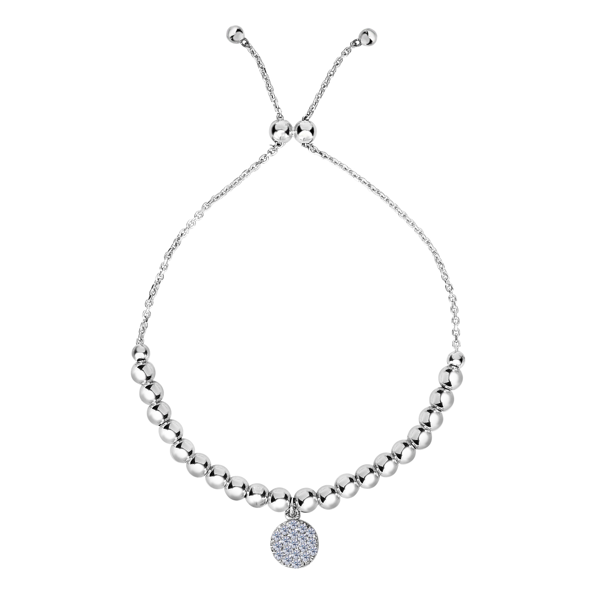 Sterling Silver Beads And CZ Charm Adjustable Bolo Friendship Bracelet , 9.25  Designed for today's fast-moving, contemporary woman, the Friendship bracelets are smart, stylish and easy to wear. Meticulously executed in high quality Rhodium plated sterling silver, these iconic bracelets are easily adjusted to fit any wrist. The Adjustable sliding closure allows you to go from 9.25 inches length to as small as allowed by the design.  Each unique style of our Friendship collection looks beautiful worn as one piece alone or stacked with multiple styles for a layered and modern look. The bracelet comes in an elegant jewelry gift box, perfect for any gift giving occasion.