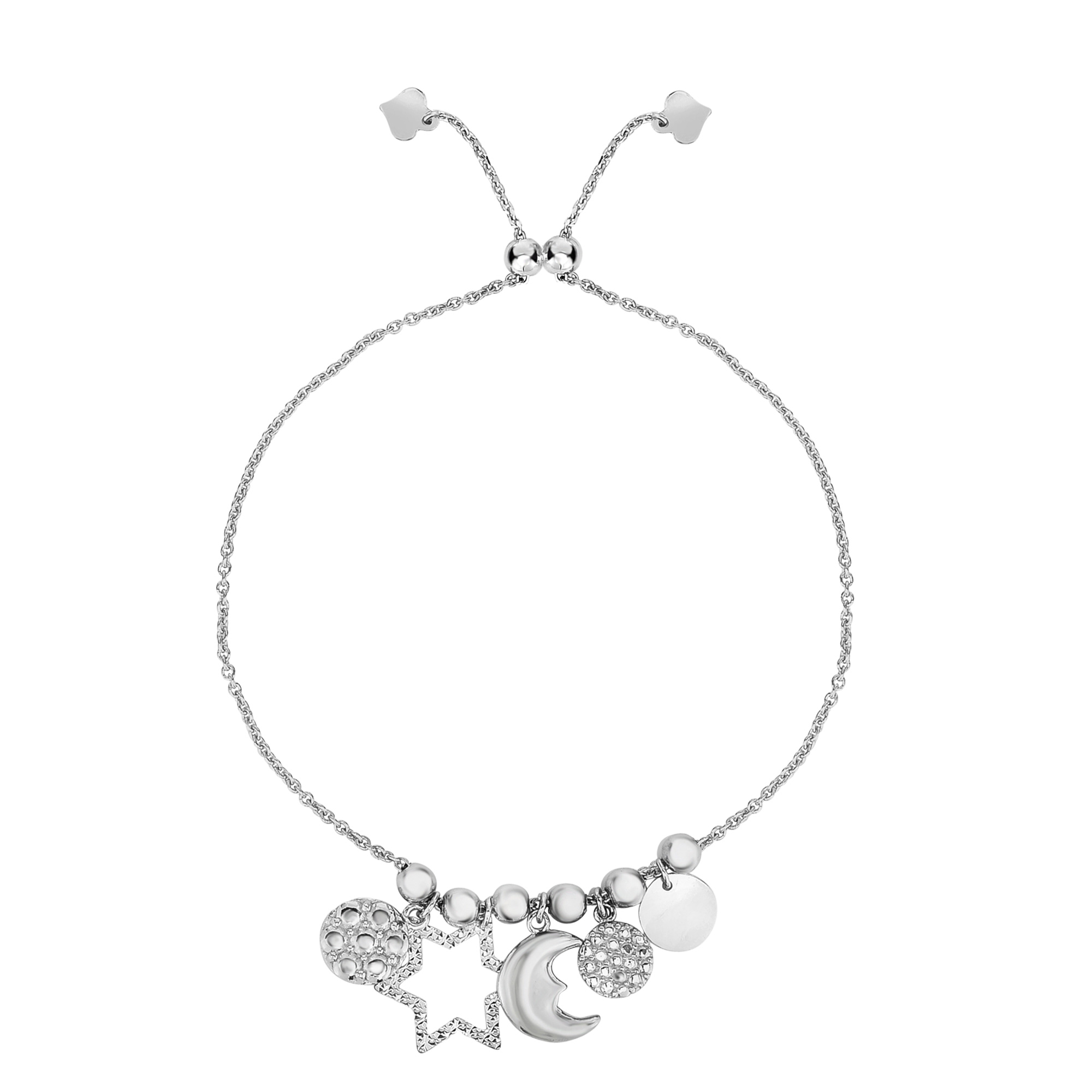 Sterling Silver Star Moon And Disc Charm Elements Adjustable Bolo Friendship Bracelet , 9.25  Designed for today's fast-moving, contemporary woman, the Friendship bracelets are smart, stylish and easy to wear. Meticulously executed in high quality Rhodium plated sterling silver, these iconic bracelets are easily adjusted to fit any wrist. The Adjustable sliding closure allows you to go from 9.25 inches length to as small as allowed by the design.  Each unique style of our Friendship collection looks beautiful worn as one piece alone or stacked with multiple styles for a layered and modern look. The bracelet comes in an elegant jewelry gift box, perfect for any gift giving occasion.