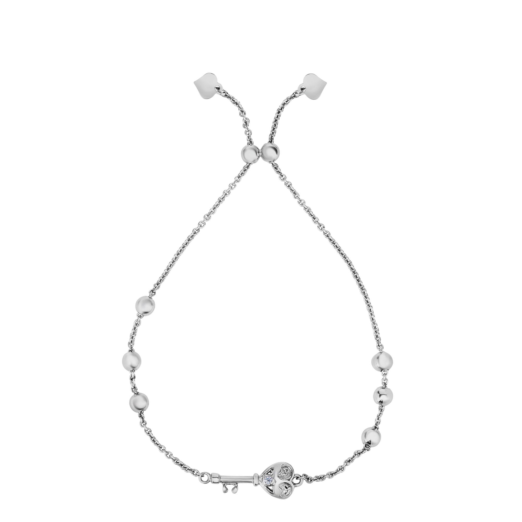Sterling Silver Key Charm Element Adjustable Bolo Friendship Bracelet , 9.25  Designed for today's fast-moving, contemporary woman, the Friendship bracelets are smart, stylish and easy to wear. Meticulously executed in high quality Rhodium plated sterling silver, these iconic bracelets are easily adjusted to fit any wrist. The Adjustable sliding closure allows you to go from 9.25 inches length to as small as allowed by the design.  Each unique style of our Friendship collection looks beautiful worn as one piece alone or stacked with multiple styles for a layered and modern look. The bracelet comes in an elegant jewelry gift box, perfect for any gift giving occasion.
