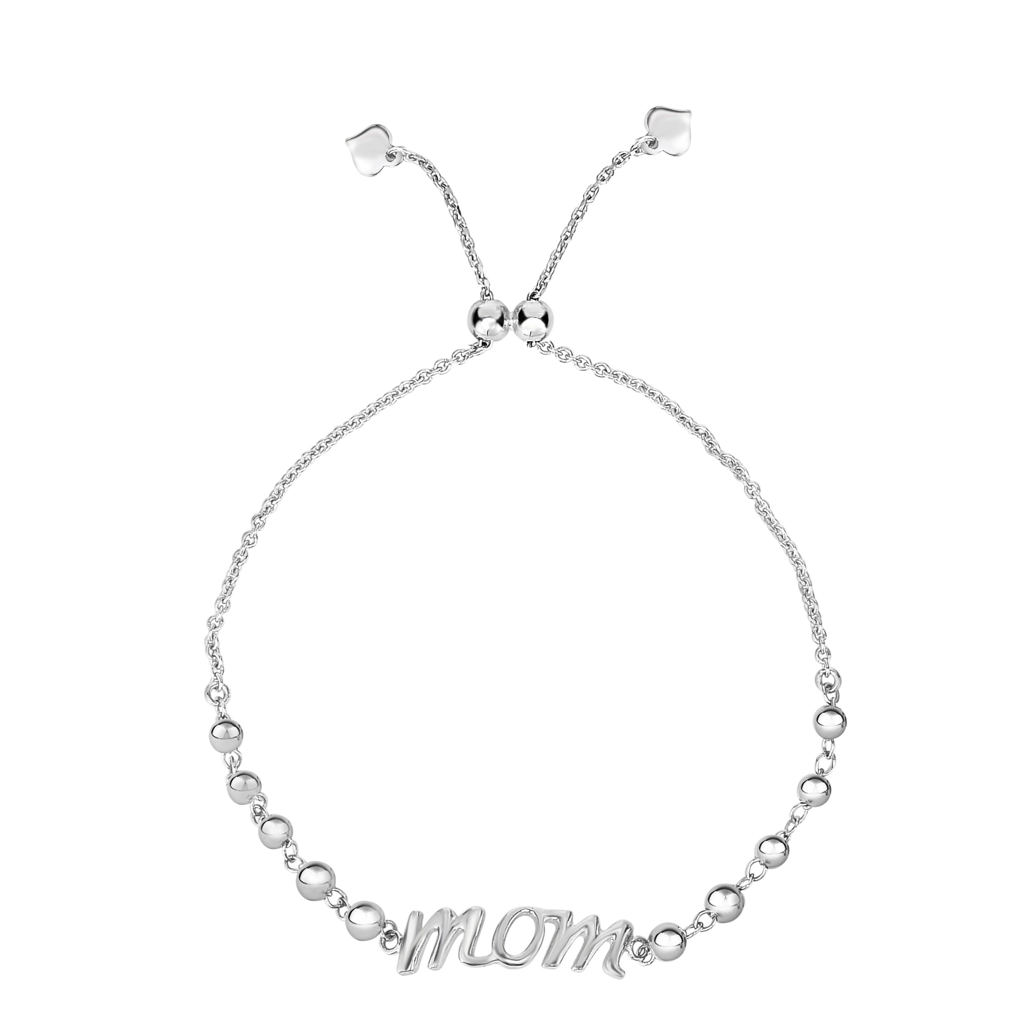 Sterling Silver Mom Theme Adjustable Bolo Friendship Bracelet , 9.25  Designed for today's fast-moving, contemporary woman, the Friendship bracelets are smart, stylish and easy to wear. Meticulously executed in high quality Rhodium plated sterling silver, these iconic bracelets are easily adjusted to fit any wrist. The Adjustable sliding closure allows you to go from 9.25 inches length to as small as allowed by the design.  Each unique style of our Friendship collection looks beautiful worn as one piece alone or stacked with multiple styles for a layered and modern look. The bracelet comes in an elegant jewelry gift box, perfect for any gift giving occasion.