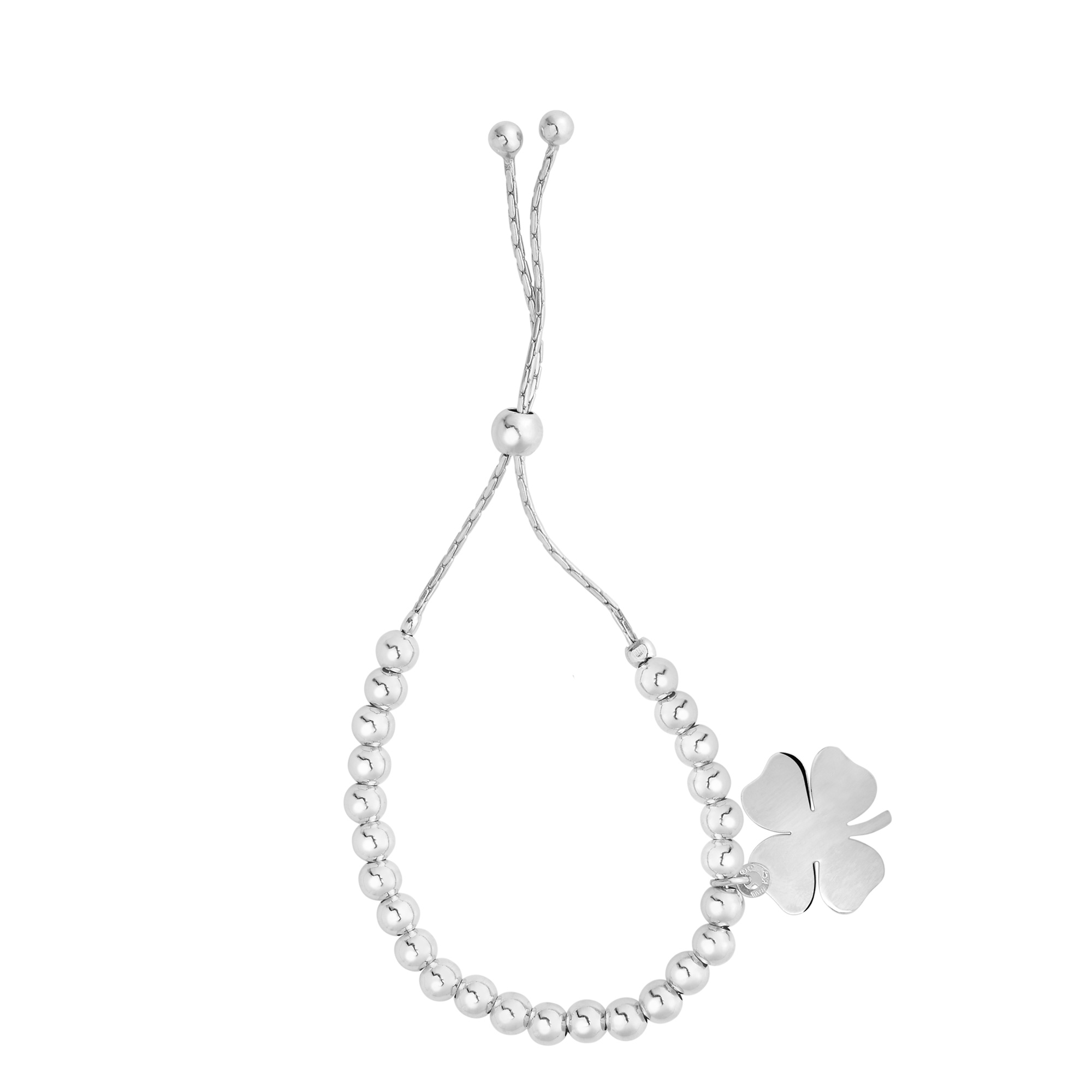 Sterling Silver Beads And 4 Leaf Clover Dangle Charm Adjustable Bolo Friendship Bracelet , 9.25  Designed for today's fast-moving, contemporary woman, the Friendship bracelets are smart, stylish and easy to wear. Meticulously executed in high quality Rhodium plated sterling silver, these iconic bracelets are easily adjusted to fit any wrist. The Adjustable sliding closure allows you to go from 9.25 inches length to as small as allowed by the design.  Each unique style of our Friendship collection looks beautiful worn as one piece alone or stacked with multiple styles for a layered and modern look. The bracelet comes in an elegant jewelry gift box, perfect for any gift giving occasion.
