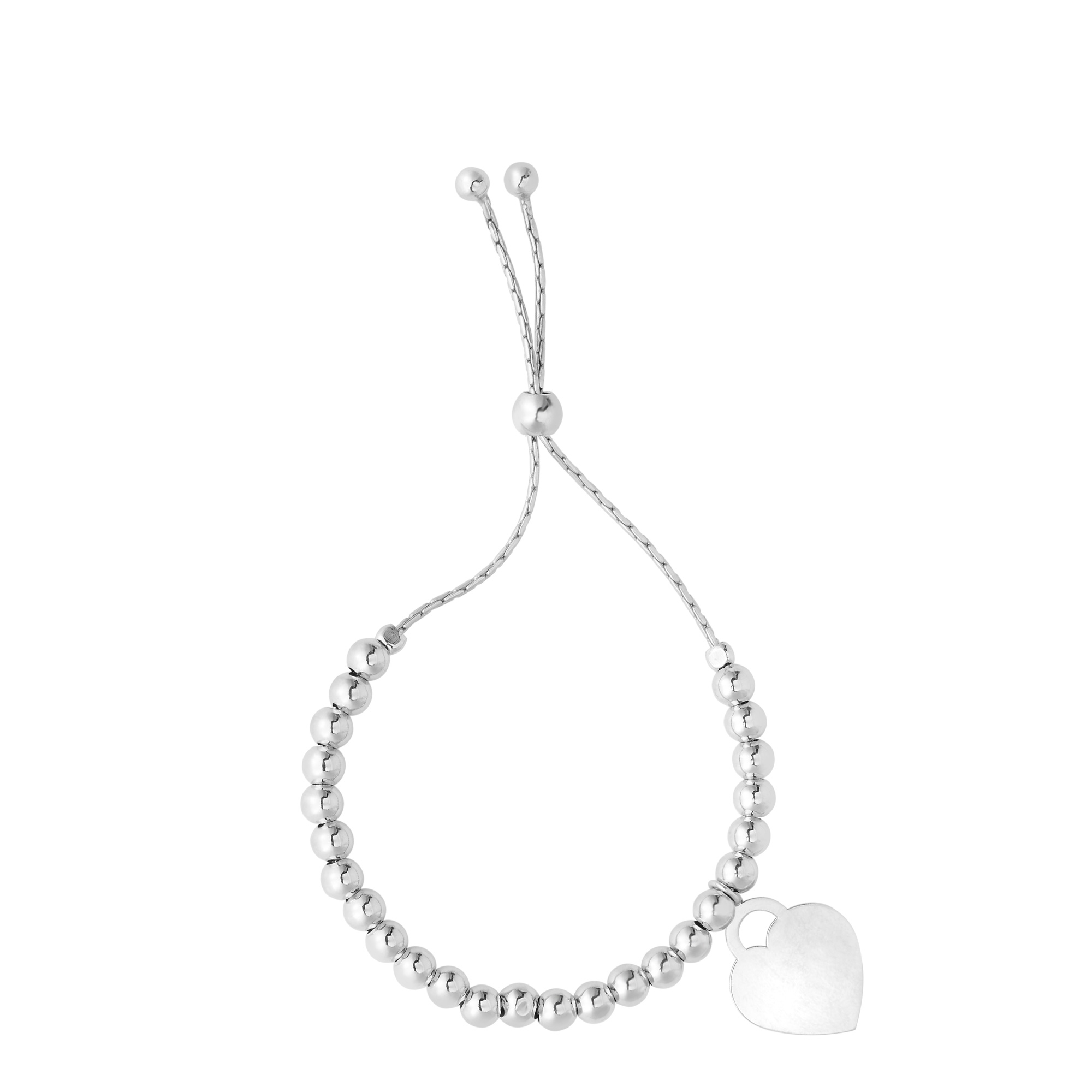 Sterling Silver Beads And Heart Charm Adjustable Bolo Friendship Bracelet , 9.25  Designed for today's fast-moving, contemporary woman, the Friendship bracelets are smart, stylish and easy to wear. Meticulously executed in high quality Rhodium plated sterling silver, these iconic bracelets are easily adjusted to fit any wrist. The Adjustable sliding closure allows you to go from 9.25 inches length to as small as allowed by the design.  Each unique style of our Friendship collection looks beautiful worn as one piece alone or stacked with multiple styles for a layered and modern look. The bracelet comes in an elegant jewelry gift box, perfect for any gift giving occasion.