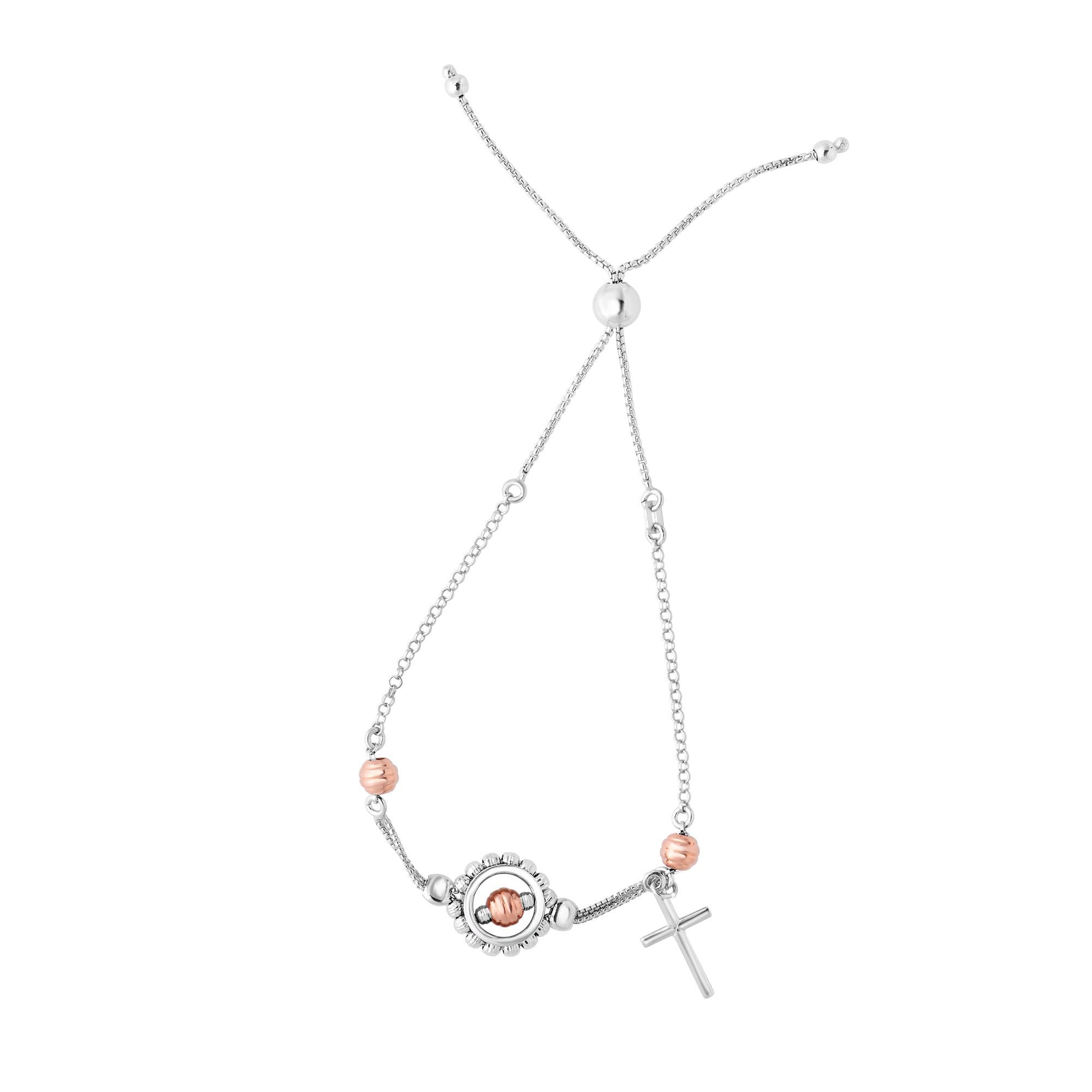 Sterling Silver Rose Color Beads With Cross Charm Adjustable Bolo Friendship Bracelet , 9.25  Designed for today's fast-moving, contemporary woman, the Friendship bracelets are smart, stylish and easy to wear. Meticulously executed in high quality Rhodium plated sterling silver, these iconic bracelets are easily adjusted to fit any wrist. The Adjustable sliding closure allows you to go from 9.25 inches length to as small as allowed by the design.  Each unique style of our Friendship collection looks beautiful worn as one piece alone or stacked with multiple styles for a layered and modern look. The bracelet comes in an elegant jewelry gift box, perfect for any gift giving occasion.
