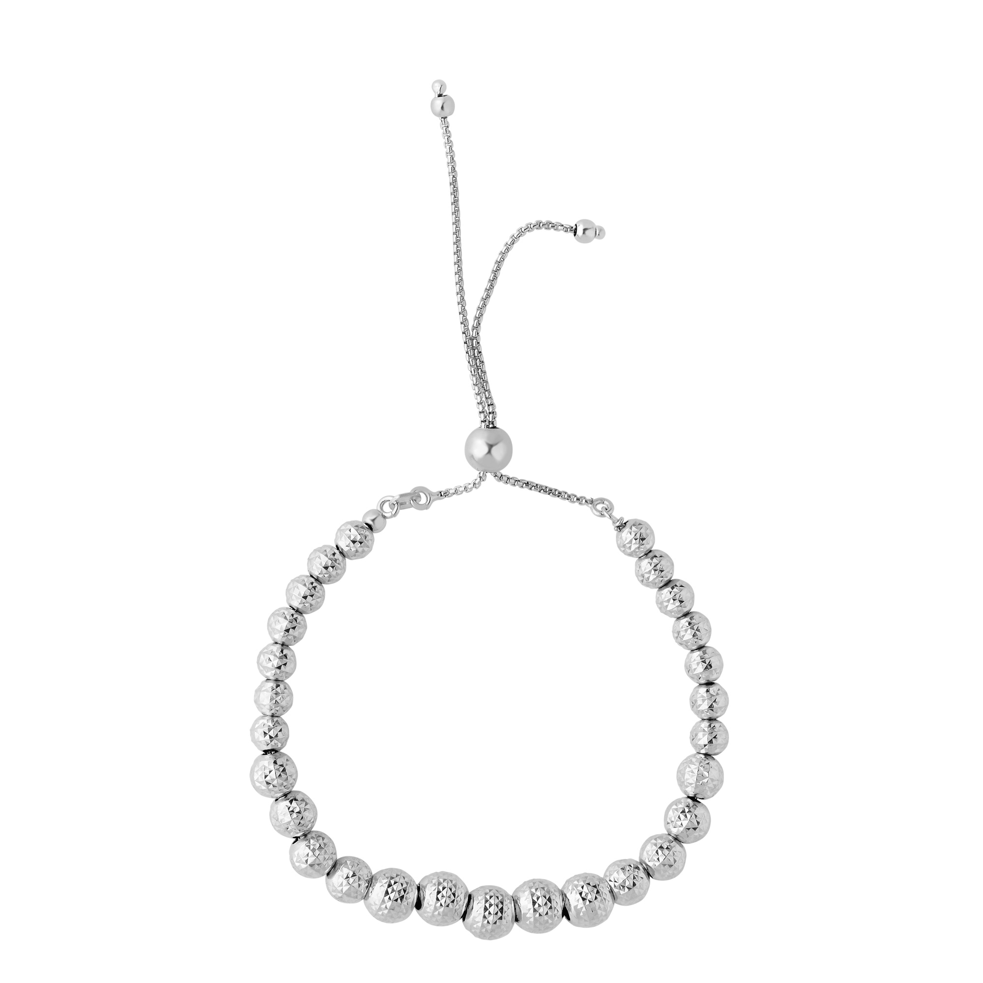 Sterling Silver Diamond Cut Graduated Beads Adjustable Bolo Friendship Bracelet , 9.25  Designed for today's fast-moving, contemporary woman, the Friendship bracelets are smart, stylish and easy to wear. Meticulously executed in high quality Rhodium plated sterling silver, these iconic bracelets are easily adjusted to fit any wrist. The Adjustable sliding closure allows you to go from 9.25 inches length to as small as allowed by the design.  Each unique style of our Friendship collection looks beautiful worn as one piece alone or stacked with multiple styles for a layered and modern look. The bracelet comes in an elegant jewelry gift box, perfect for any gift giving occasion.