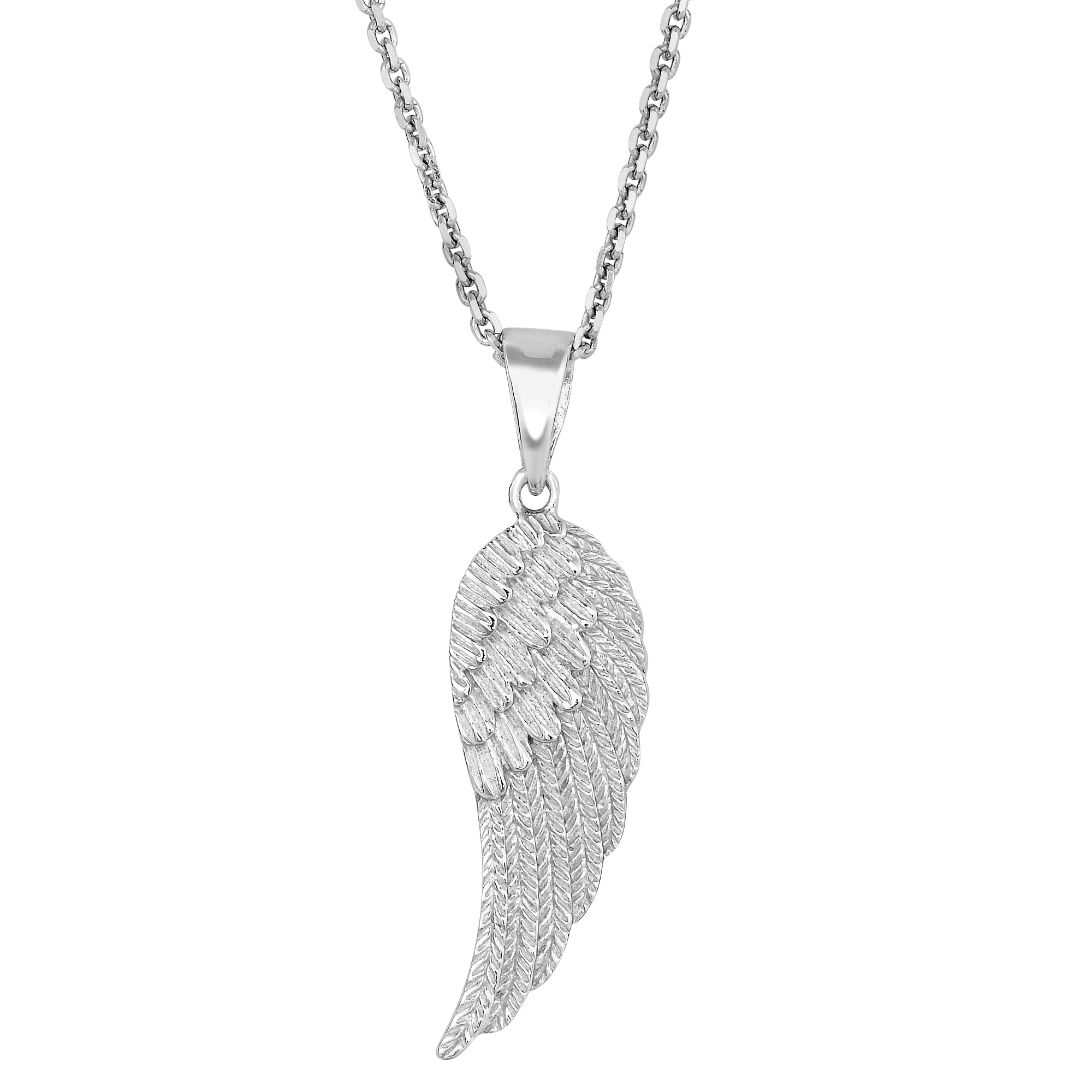 Sterling Silver Angel Wing Pendant Necklace 18 Inch