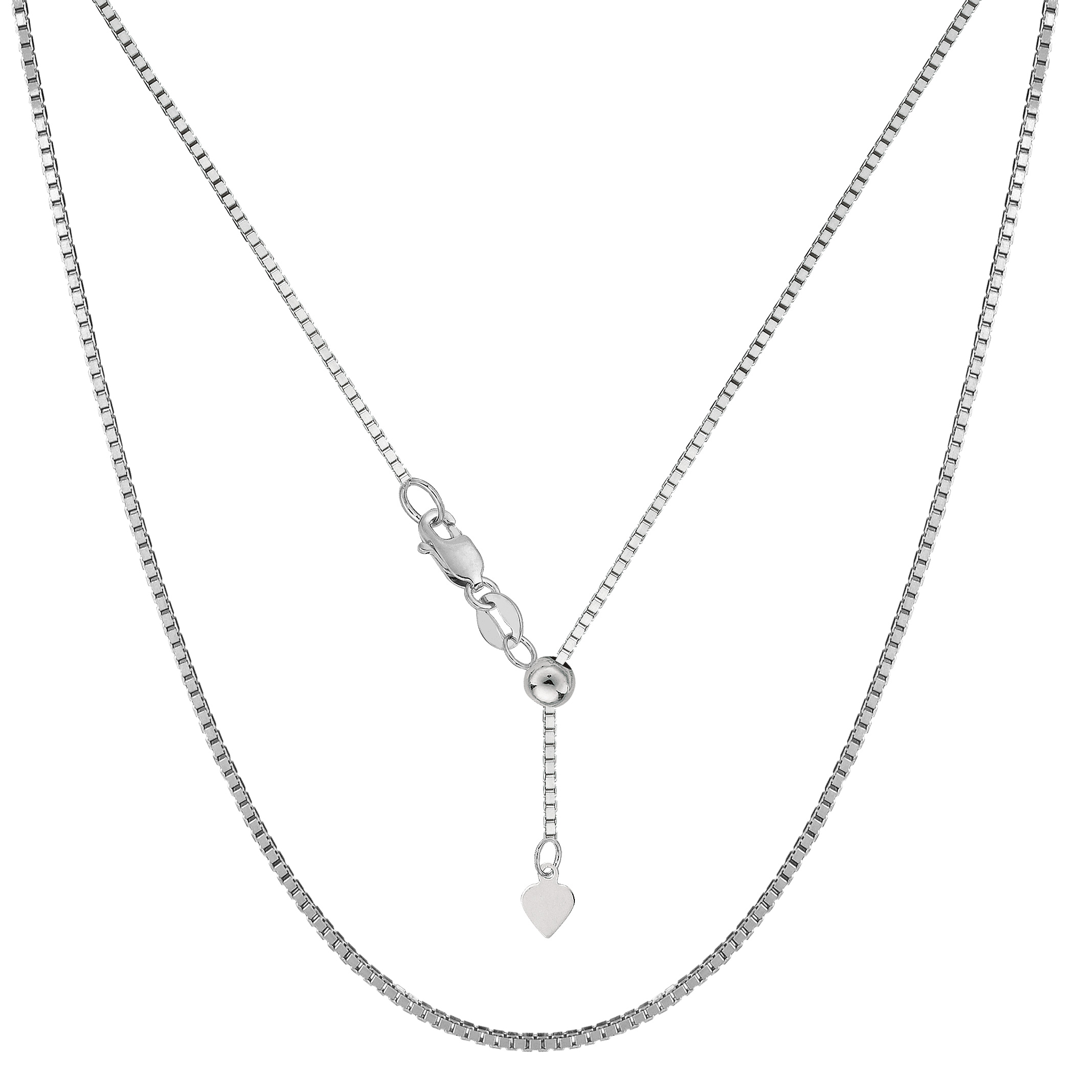 Sterling Silver Rhodium Plated Adjustable Box Chain Necklace, 1,2mm, 22  Using it by itself or combining it with charms and pendants, this 22 inch long adjustable box style chain is a perfect addition to any jewelry fashionista collection.