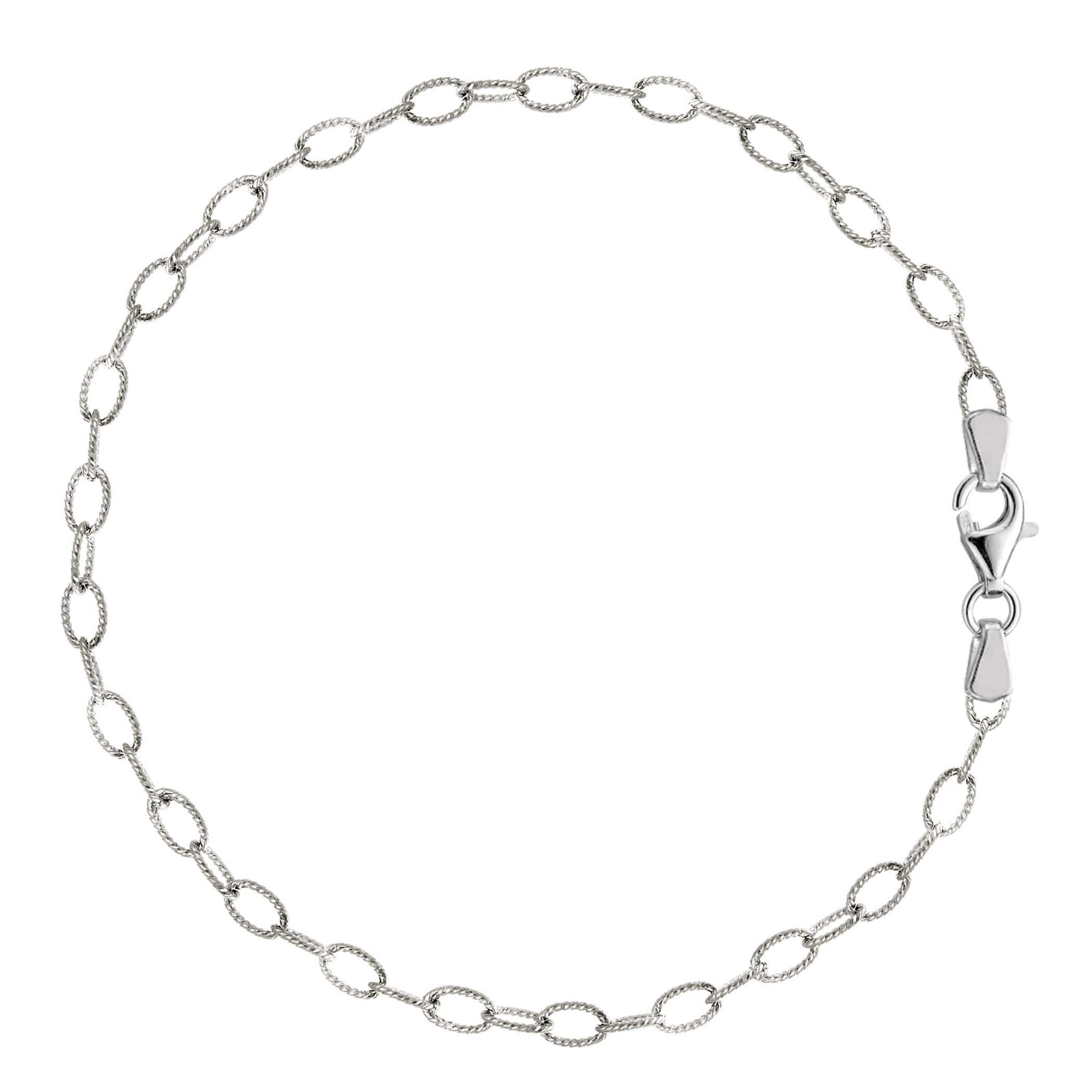 Oval Shaped Twisted Cable Link Anklet In Sterling Silver, 10″