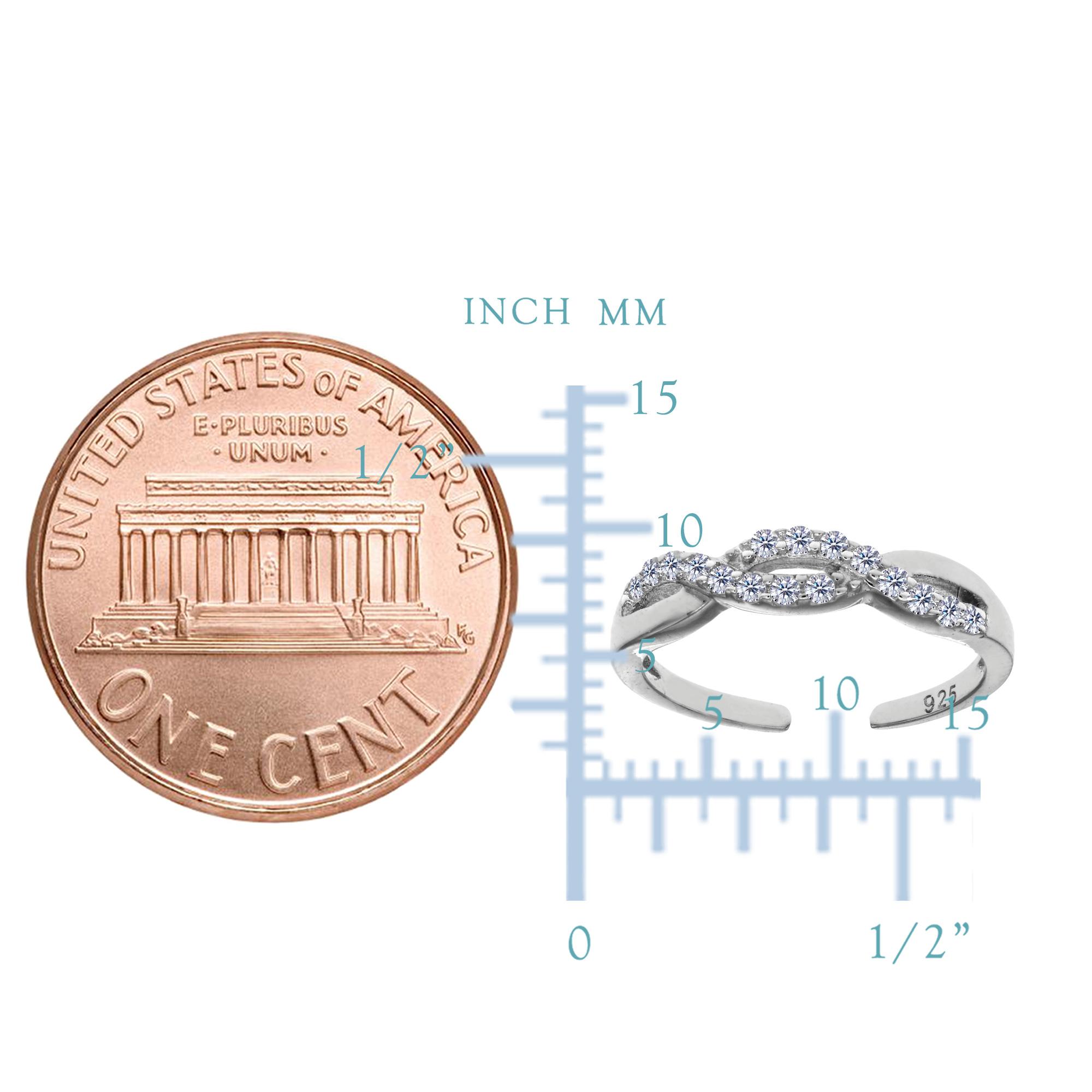 925 Sterlingsilber Rhodiniert Unendlichkeit Cz Zehen Ring